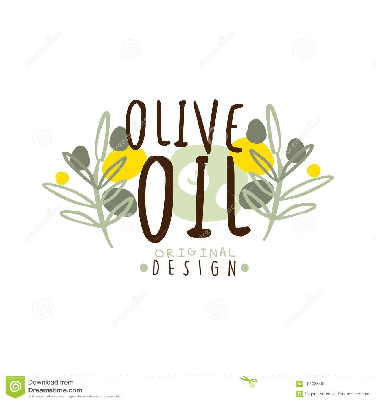 Ejemplo del vector de Olive Oil Label With Some Olive Branches