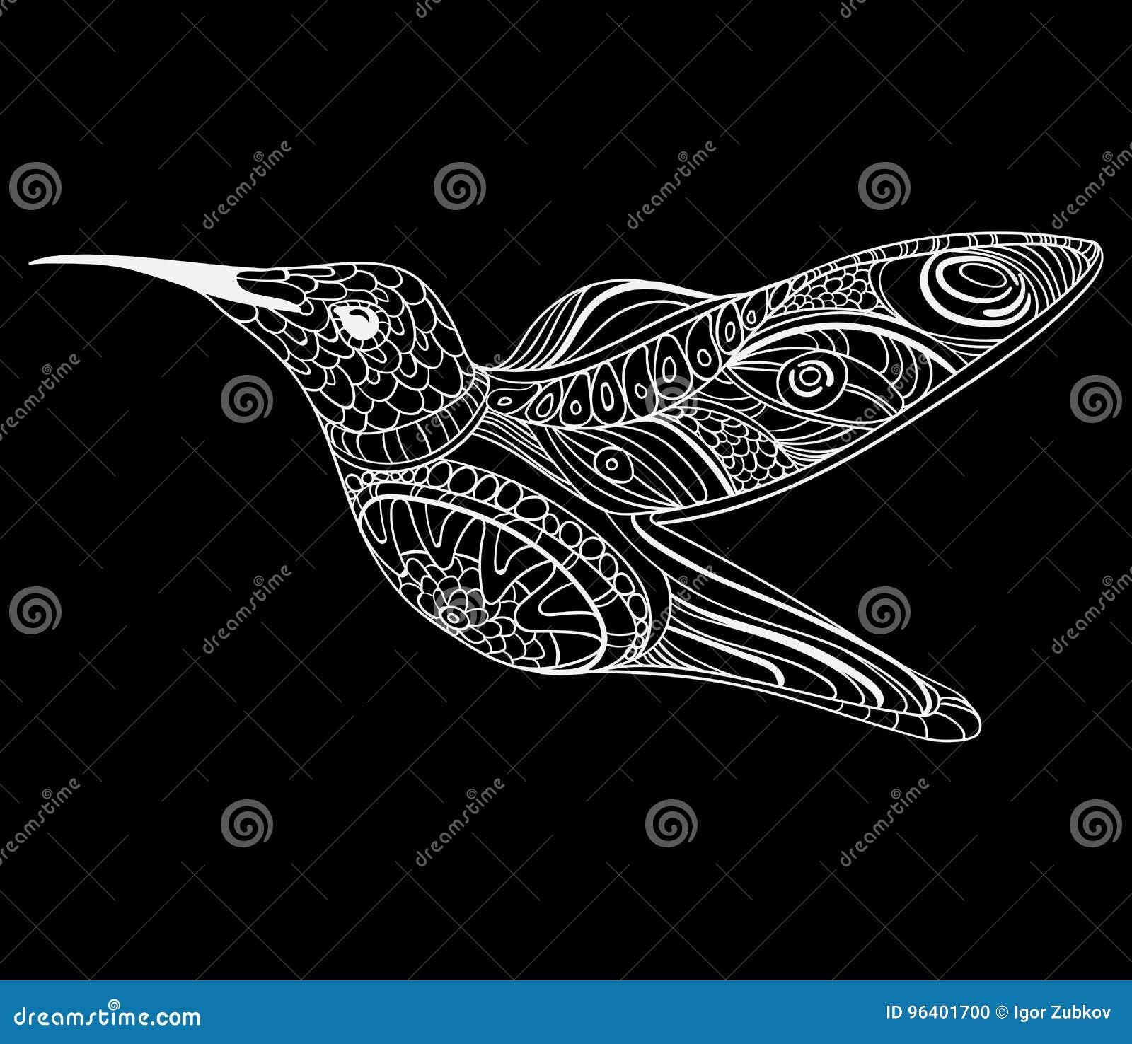 Ejemplo Del Vector De Un Colibrí Pájaro De Vuelo Estilizado Dibujo