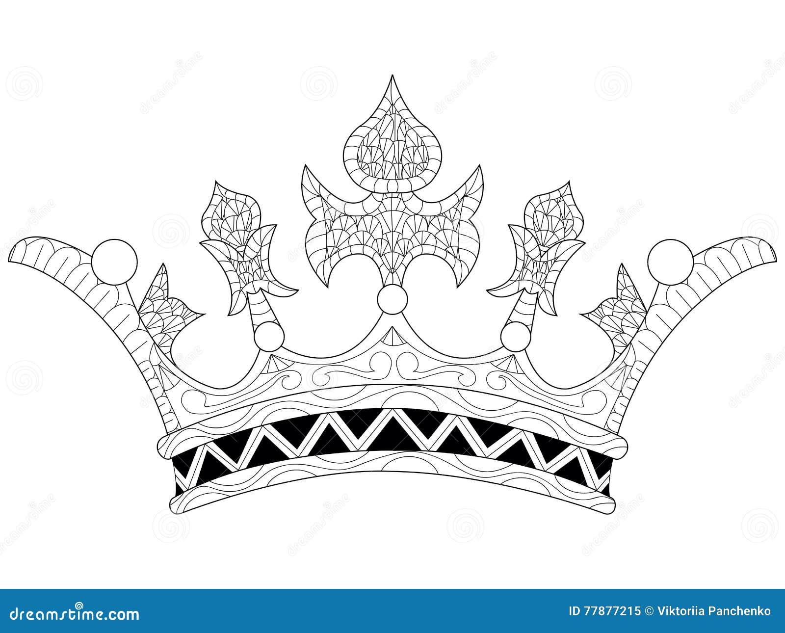 Ejemplo Del Vector De Un Libro De Colorear De La Corona Ilustración ...