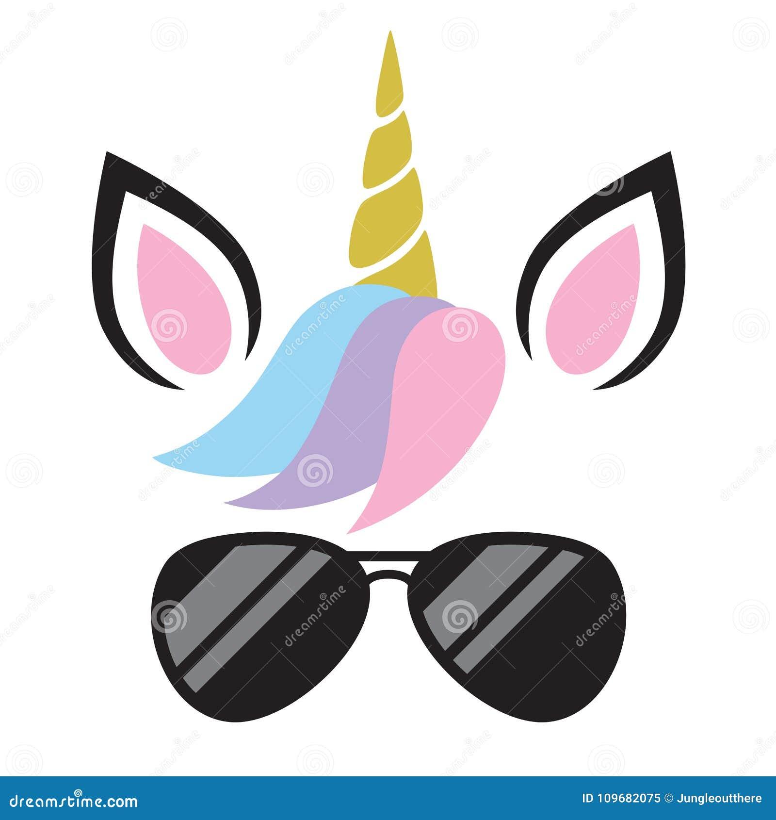 Ejemplo del vector de Unicorn Wearing Sunglasses