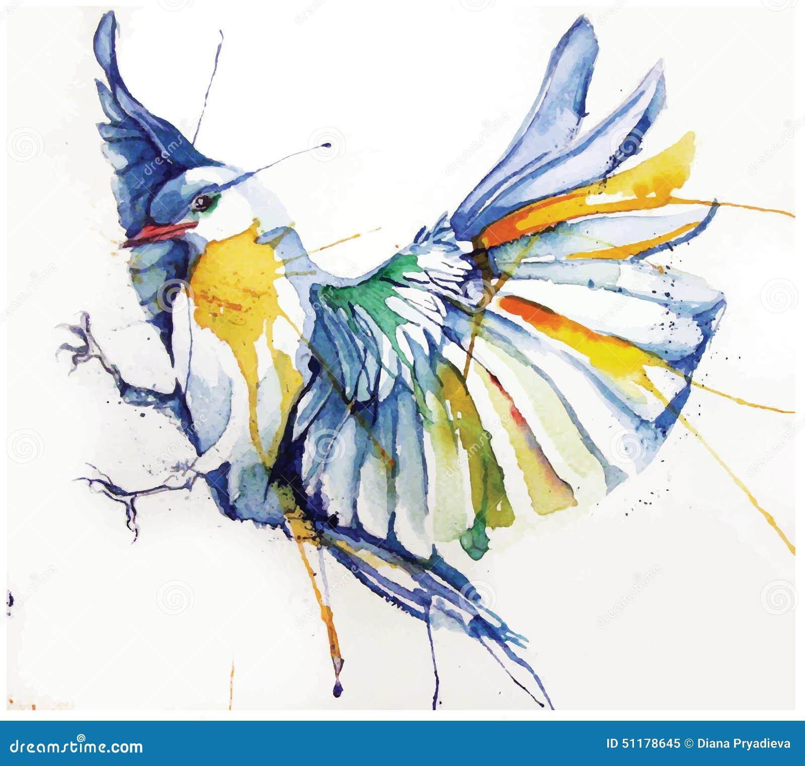 Ejemplo del vector del Acuarela-estilo del pájaro