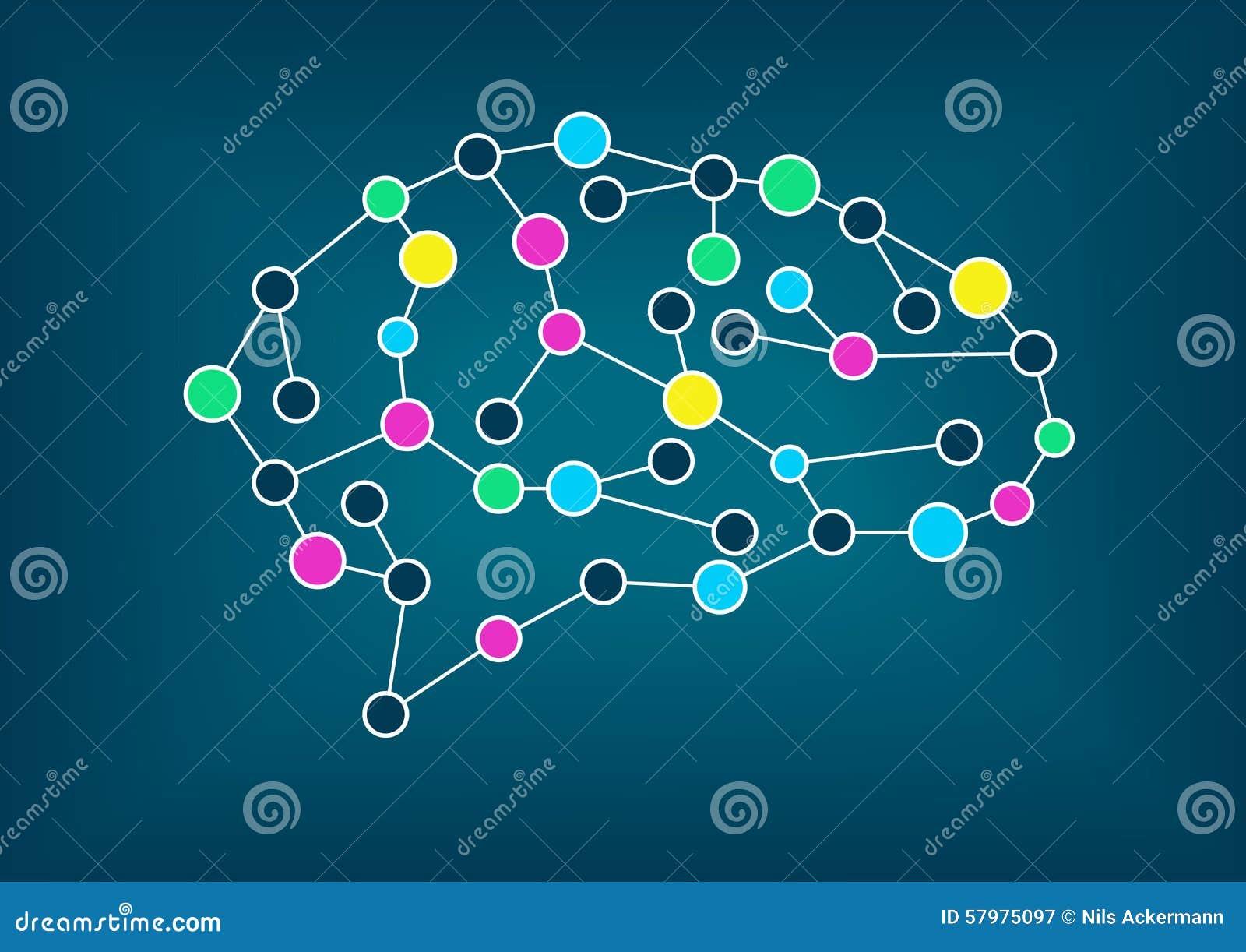 Ejemplo del vector del cerebro Concepto de conectividad, aprendizaje de máquina, inteligencia artificial
