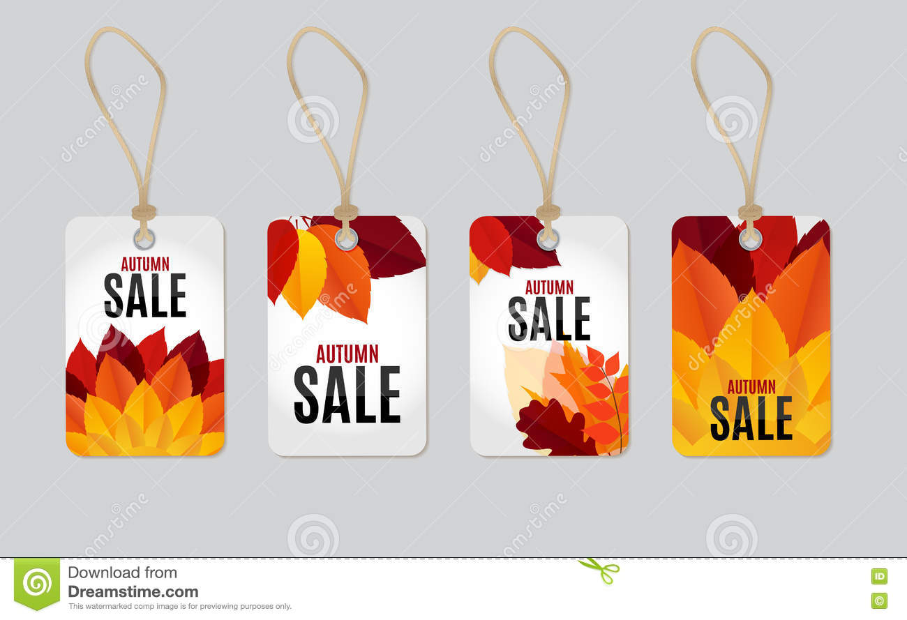 Ejemplo del vector del fondo de Autumn Leaves Sale Tag Label