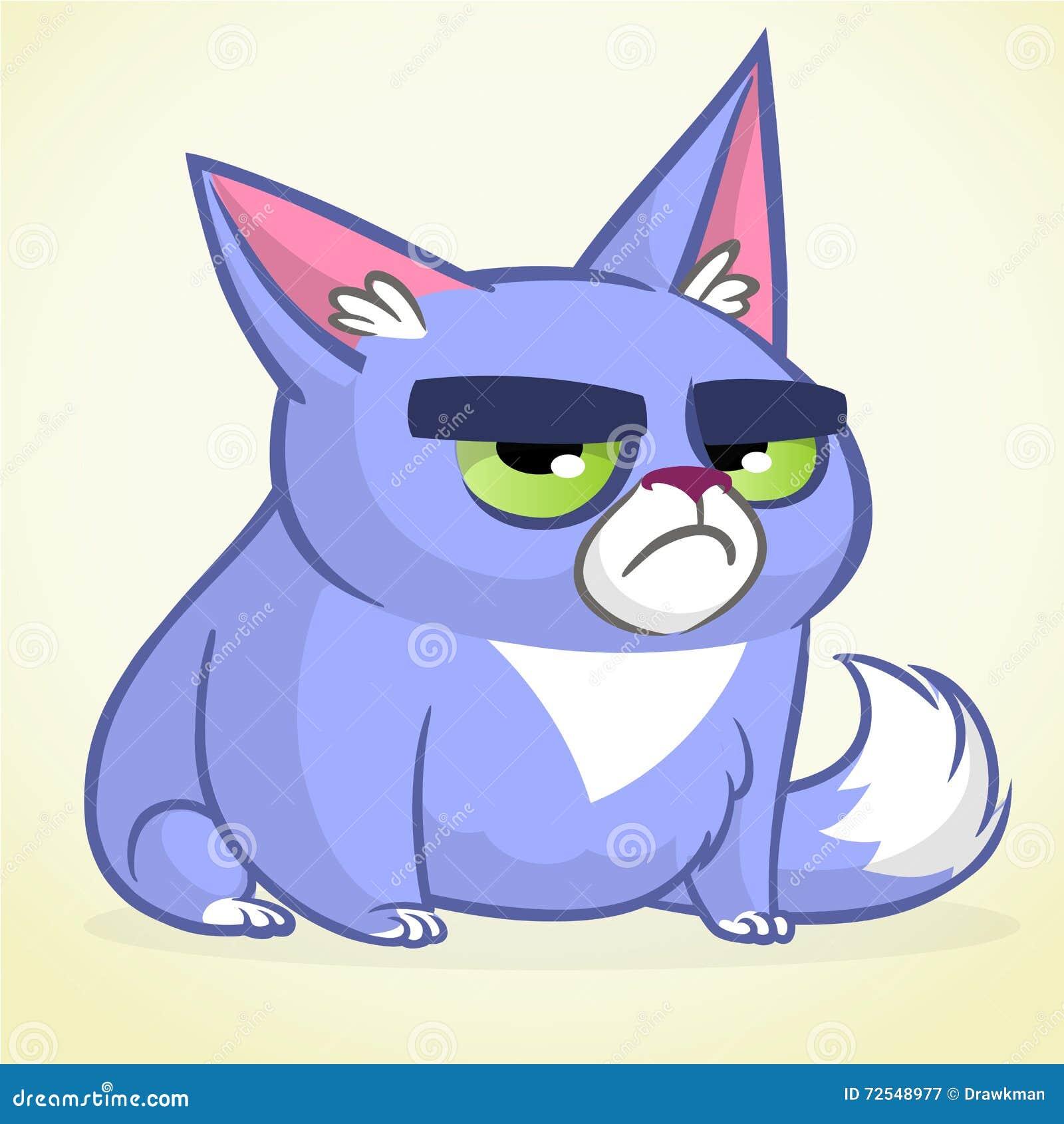 Ejemplo Del Vector Del Gato Azul Gruñón Pequeño Gato Lindo De La ...