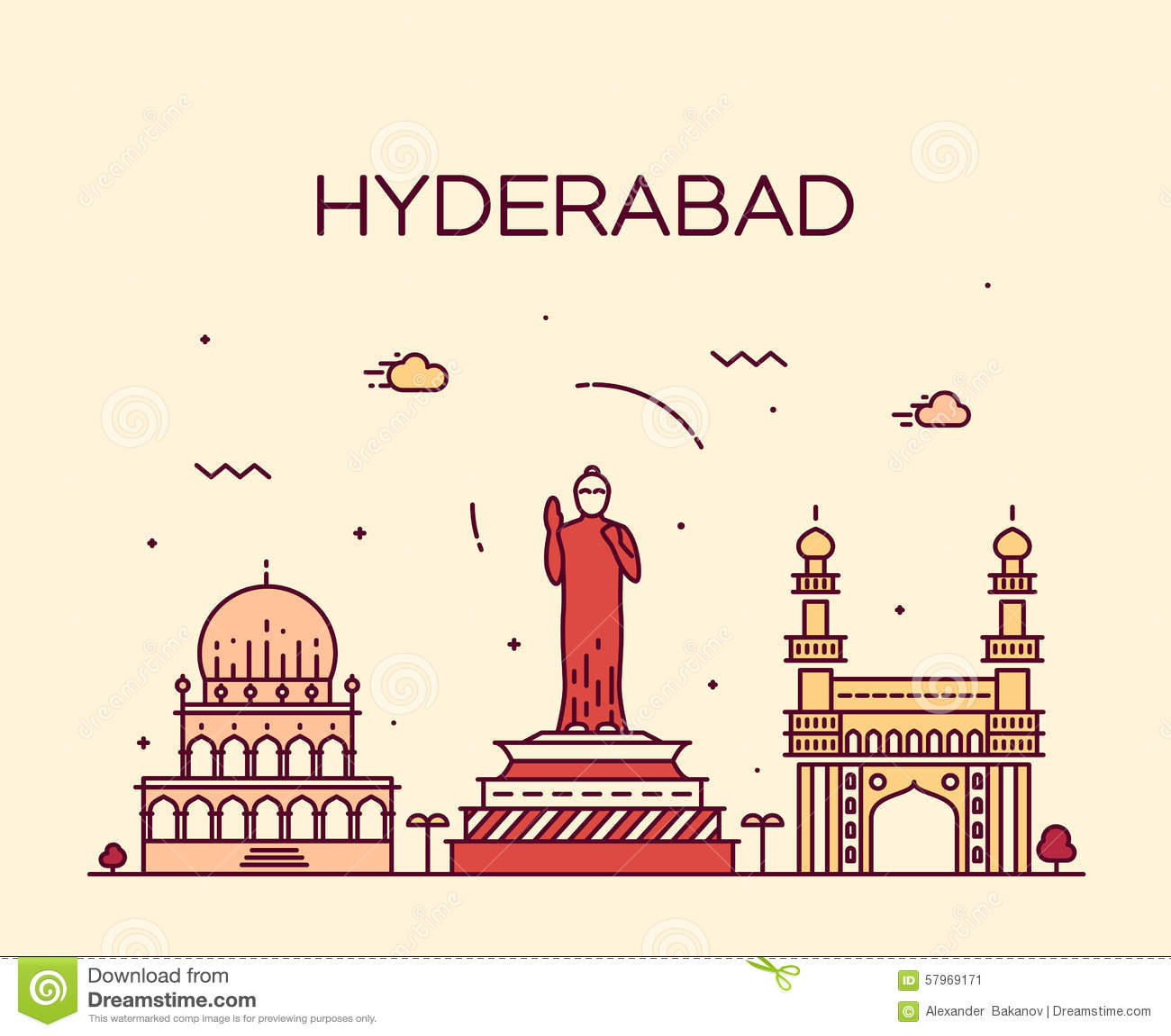 Ejemplo del vector del horizonte de Hyderabad linear