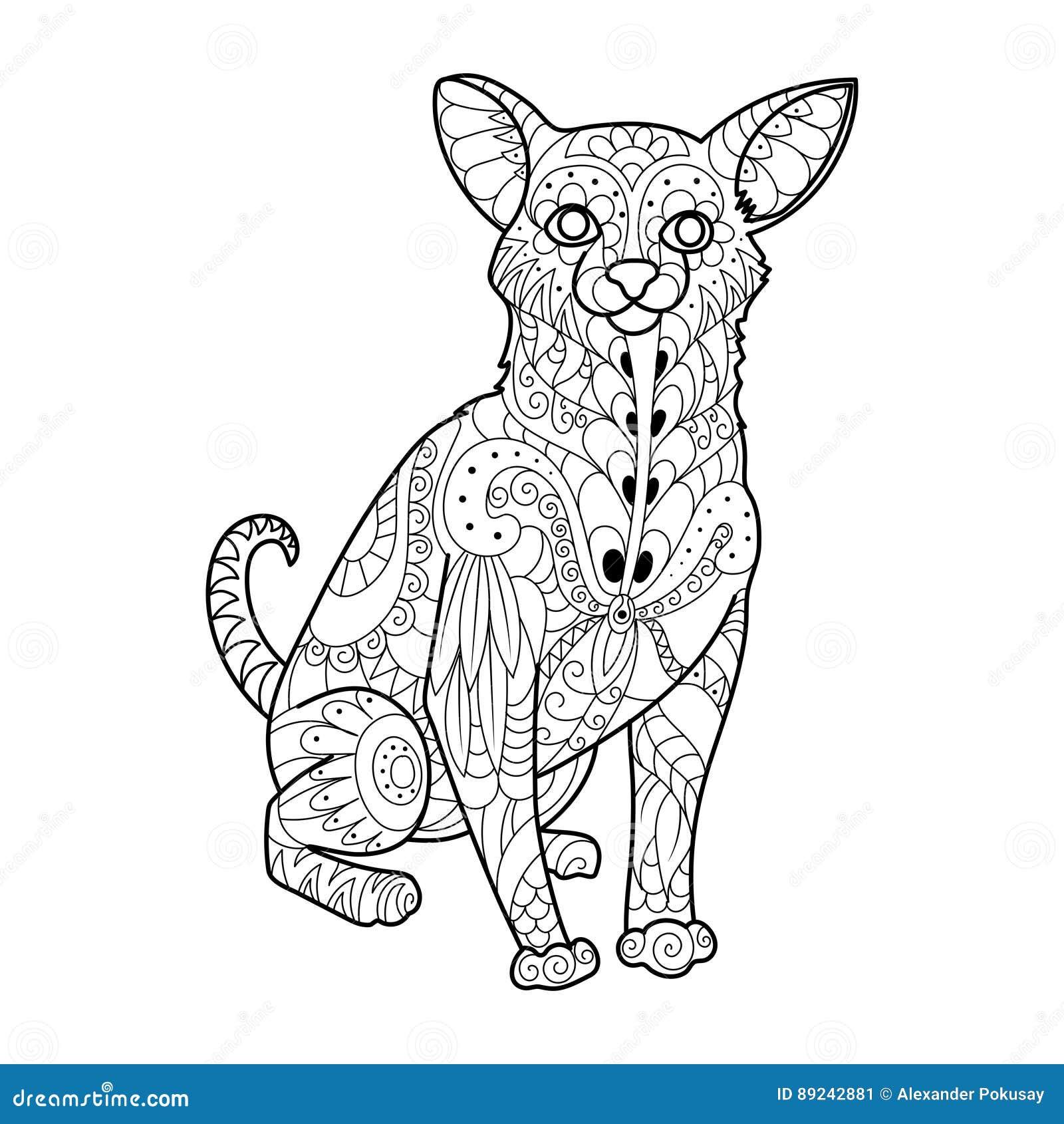 Ejemplo Del Vector Del Libro De Colorear Del Perro De La Chihuahua ...