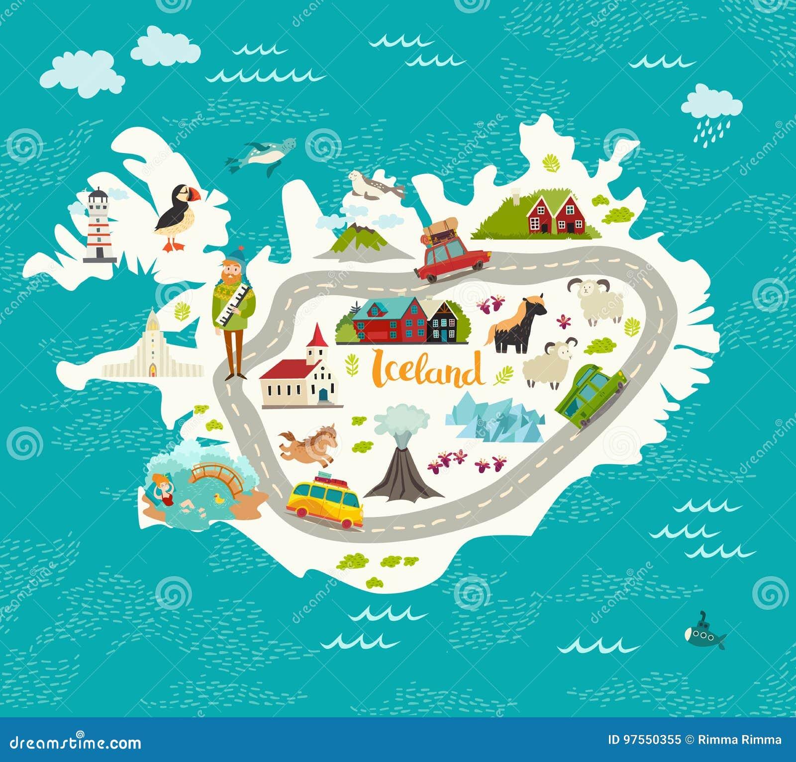 Ejemplo del vector del mapa de Islandia