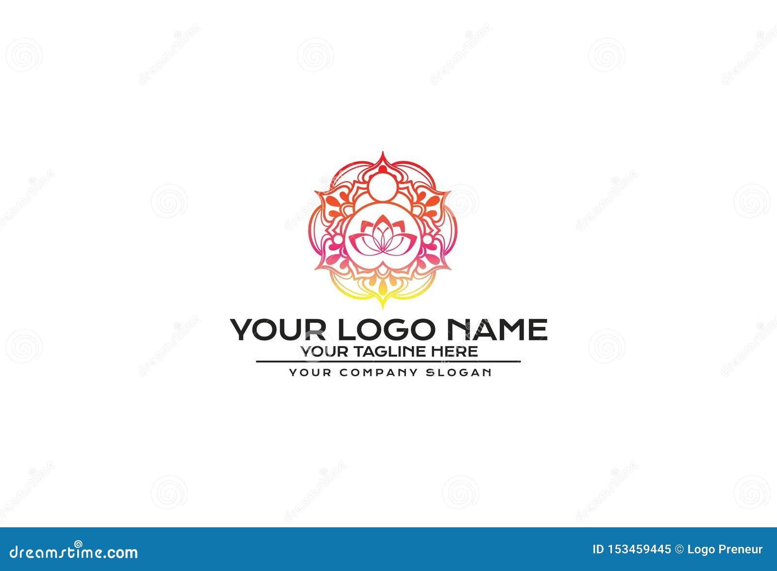 Ejemplo del vector del diseño del logotipo de la mandala de la flor