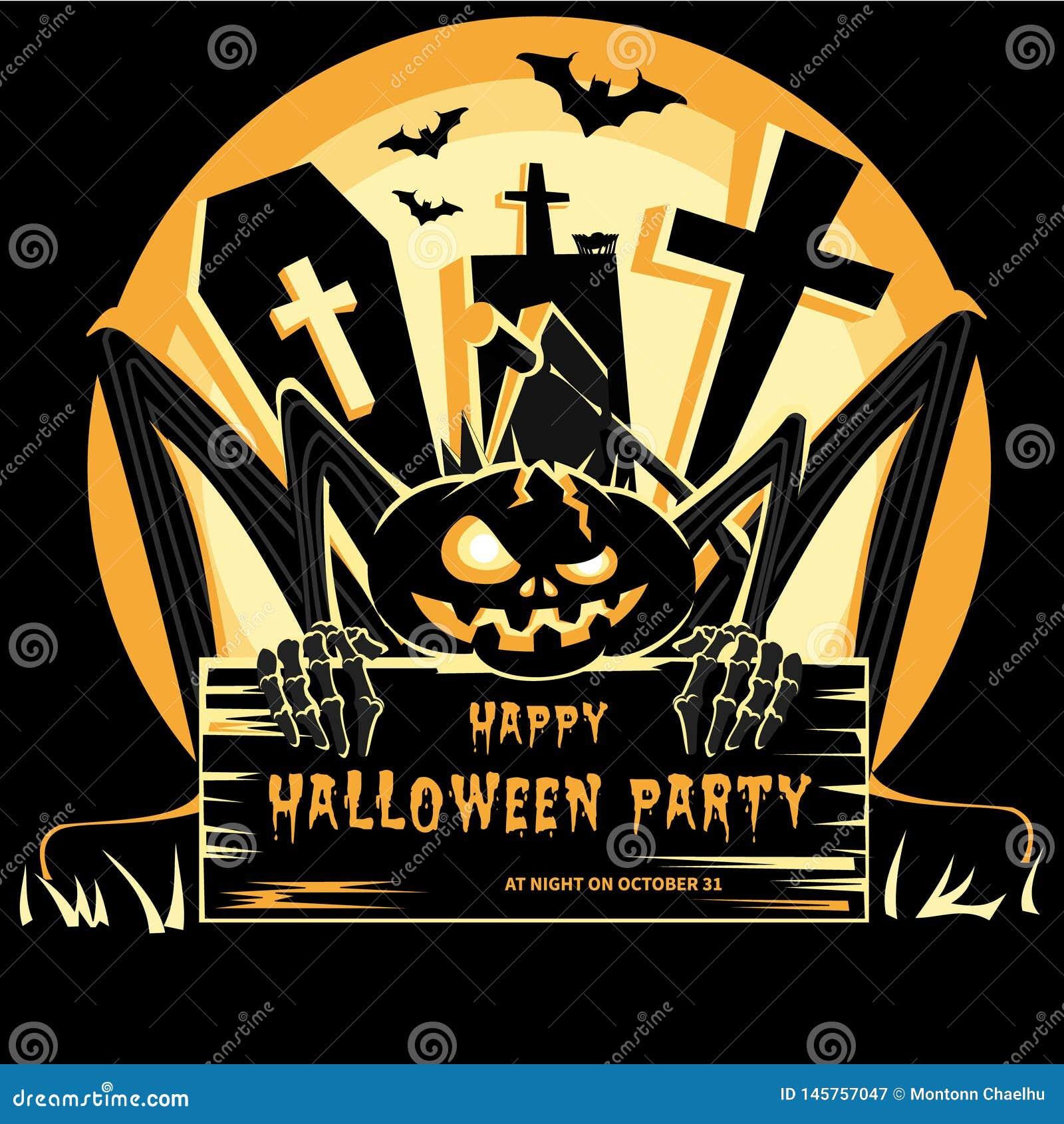 Ejemplo del vector del diseño del partido de Halloween de la cartelera