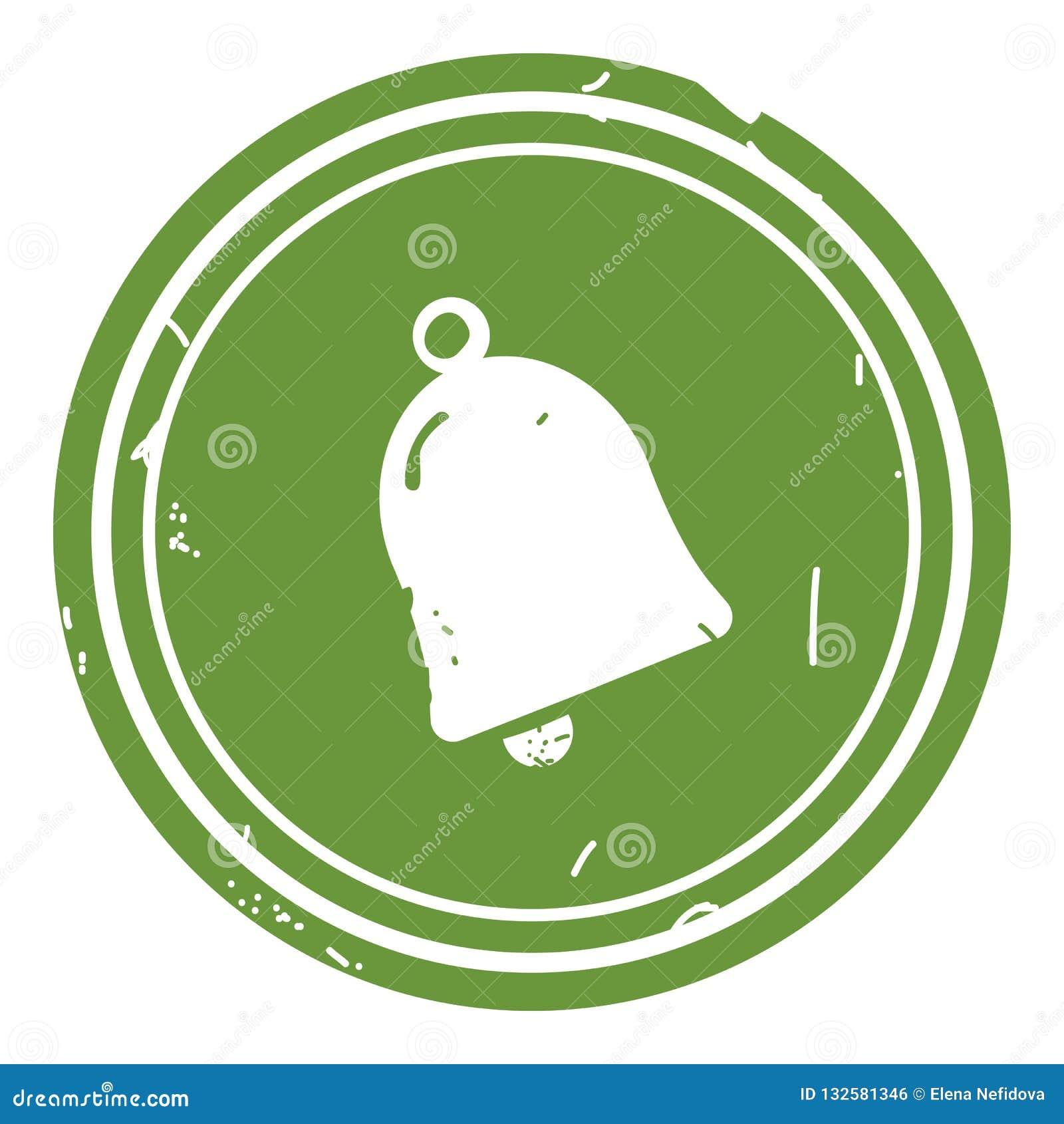Ejemplo del vector del icono de Bell en fondo verde