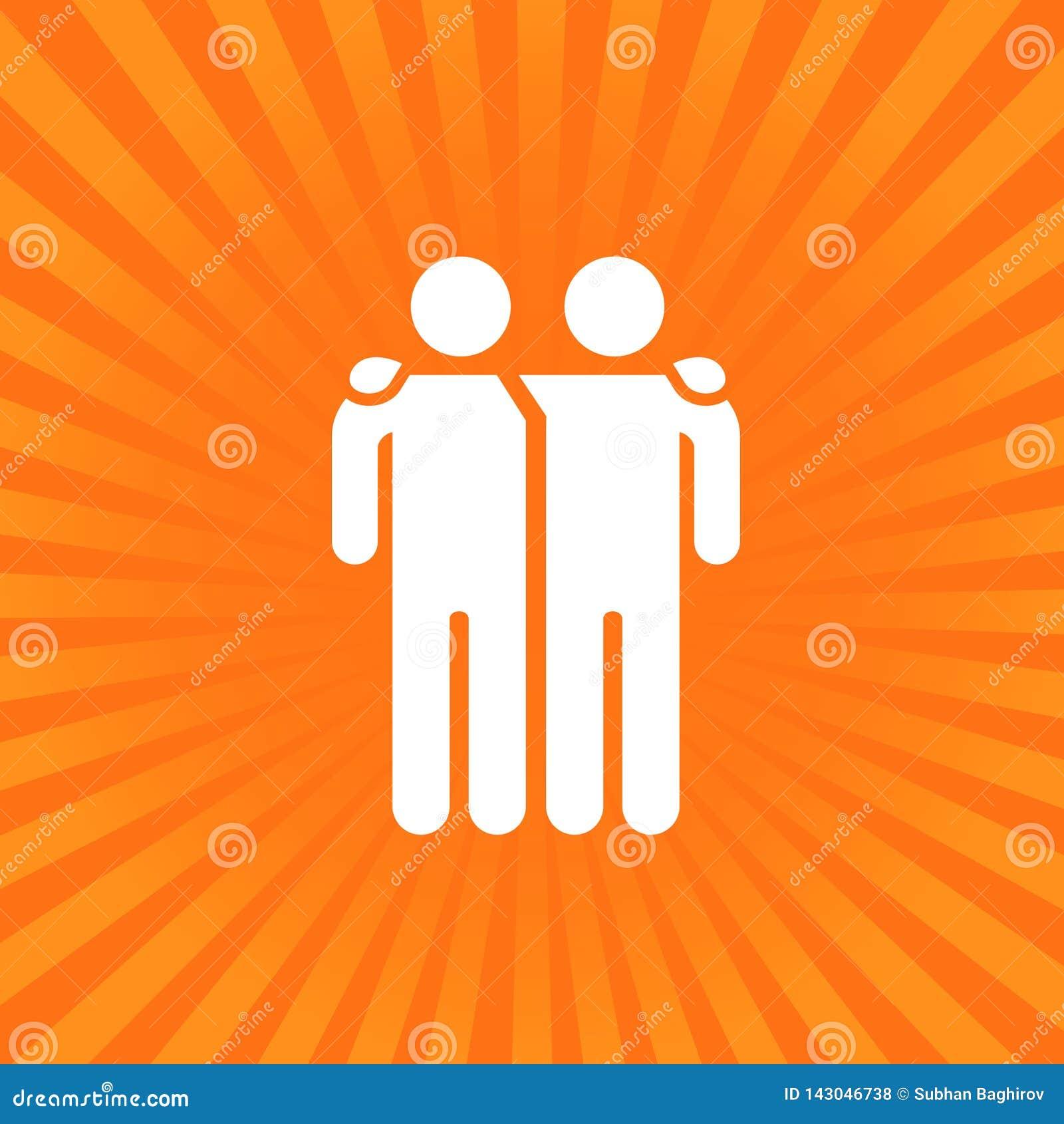 Ejemplo del vector del icono de los amigos aislado en fondo del resplandor solar Muestra de la amistad Símbolo del mejor amigo