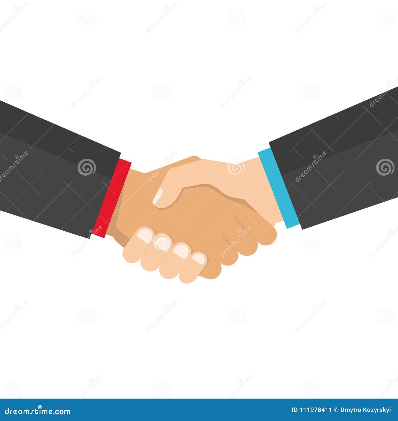 Ejemplo del vector del negocio del apretón de manos, símbolo del trato del éxito, acuerdo, buen trato, sociedad feliz, saludando