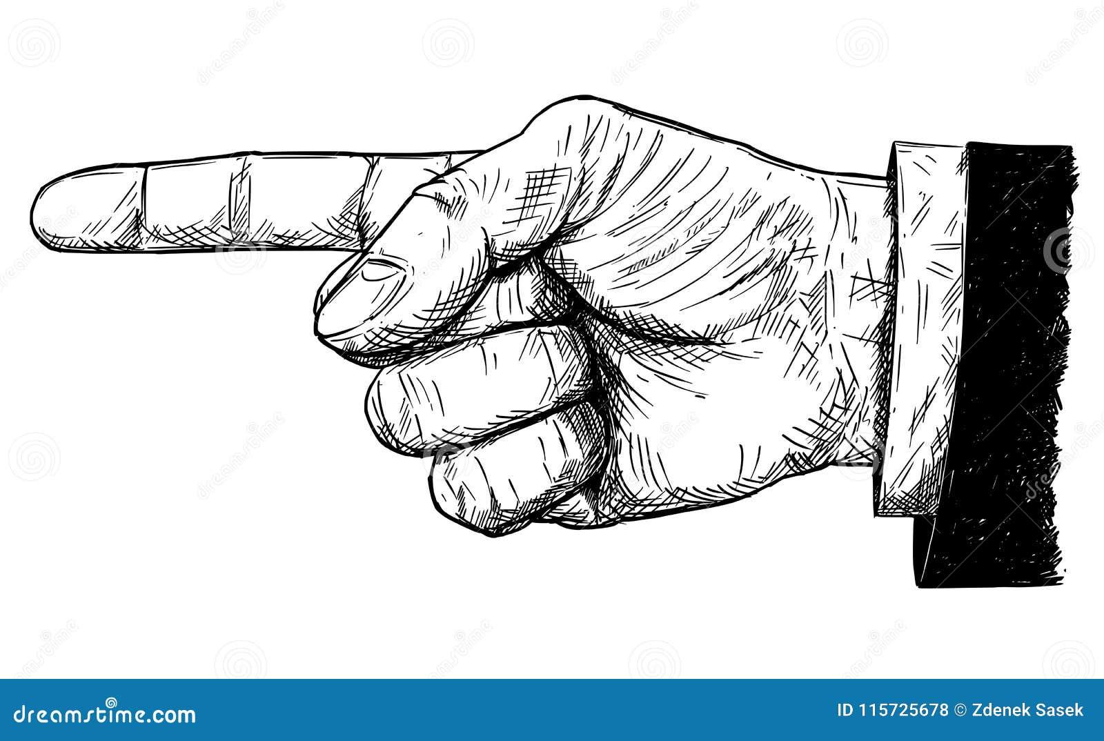 Ejemplo del vector o dibujo artístico del hombre de negocios Hand en traje con el finger que señala la dirección izquierda