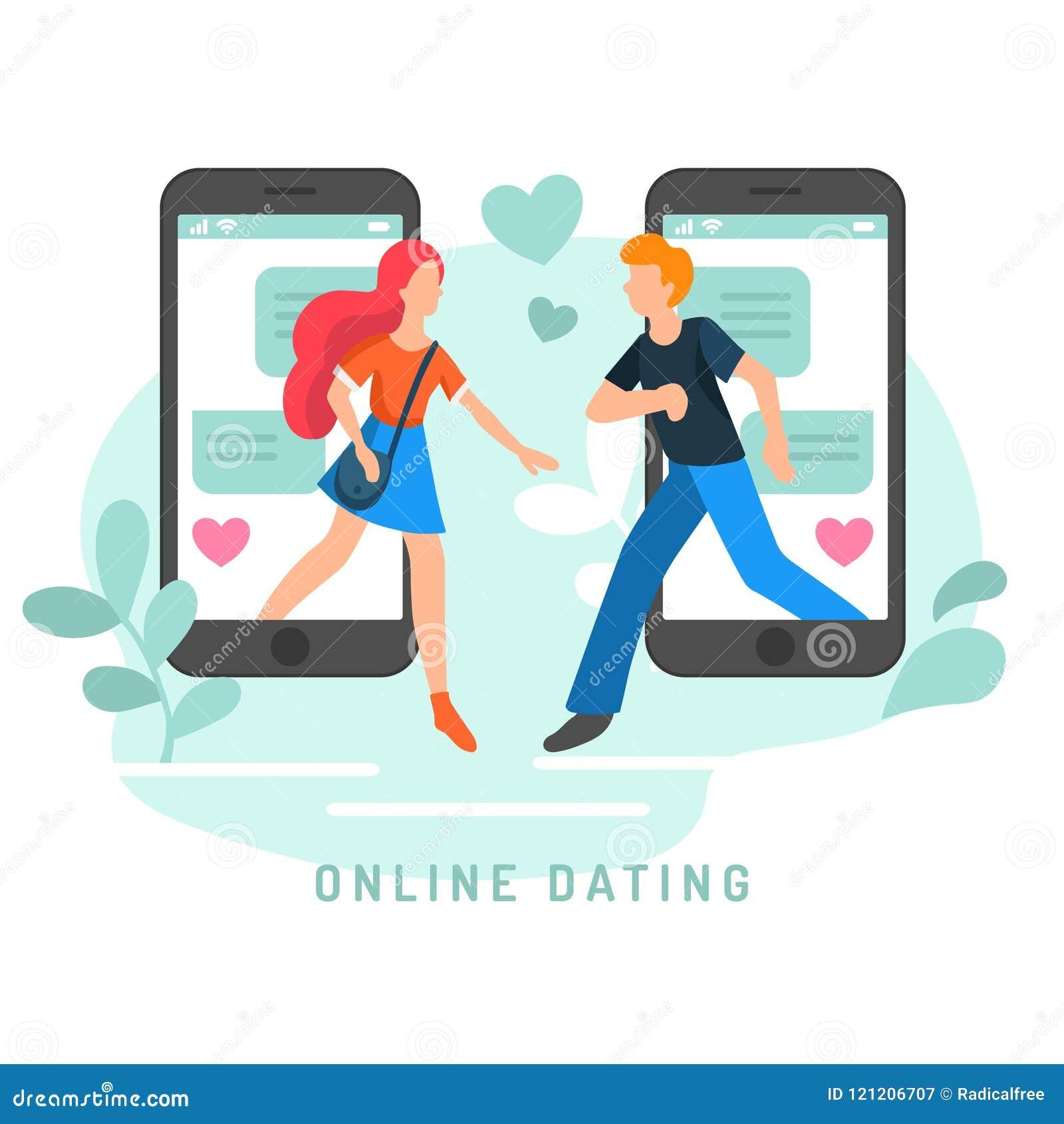 Ejemplo del vector para los usuarios en línea del app que fechan Infographics plano del conocido del hombre y de mujer en red soc