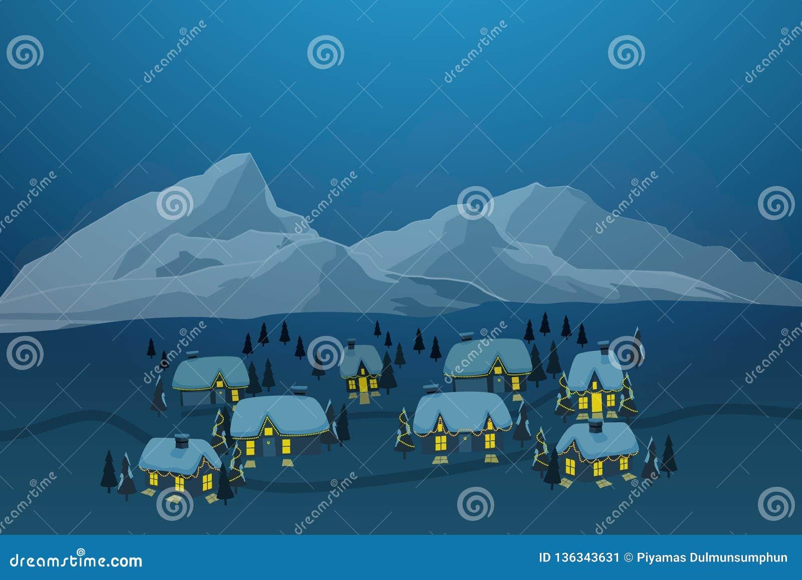Ejemplo del vector del pueblo viejo de la ciudad con nieve en tejado y del iceberg en el fondo en la estación del invierno
