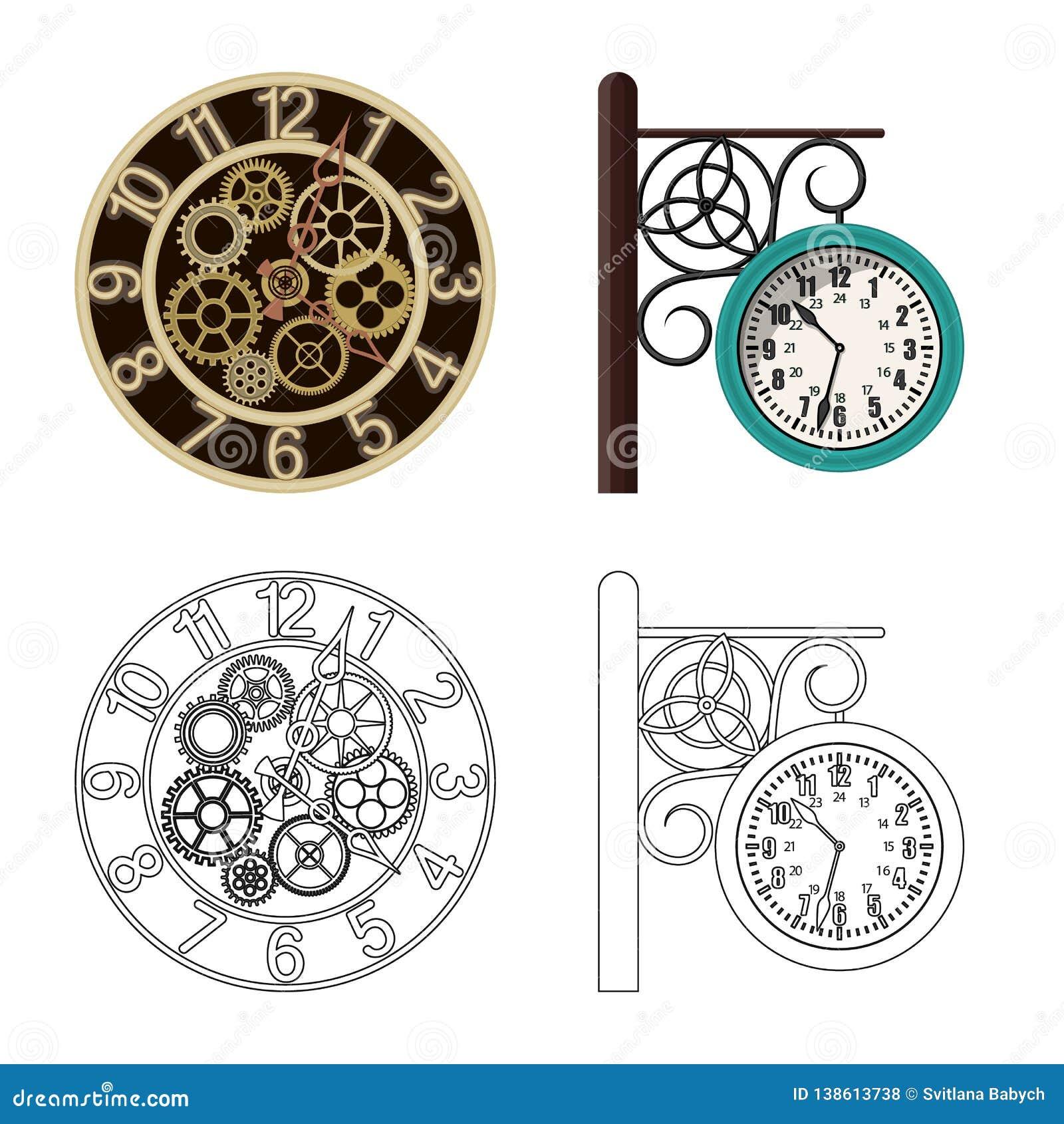 Ejemplo del vector del reloj y de la muestra del tiempo Colección de símbolo común del reloj y del círculo para el web