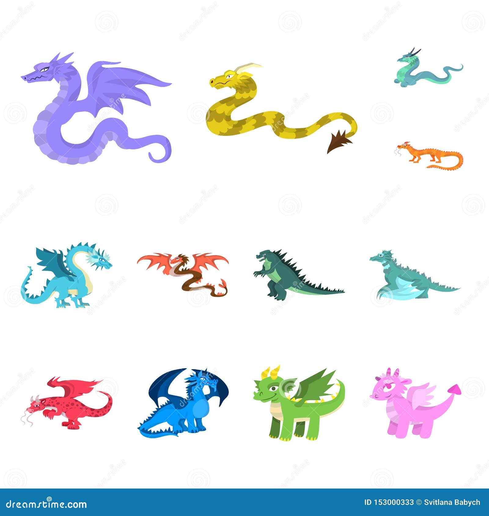 Ejemplo del vector del símbolo del criatura y animal Colección de criatura e icono medieval del vector para la acción
