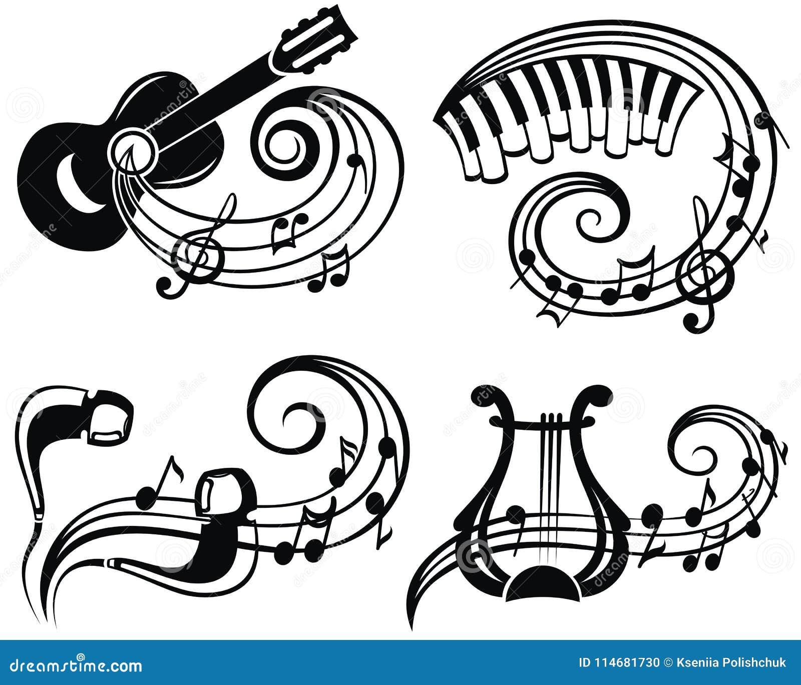 Ejemplo del vector del símbolo de música para su diseño