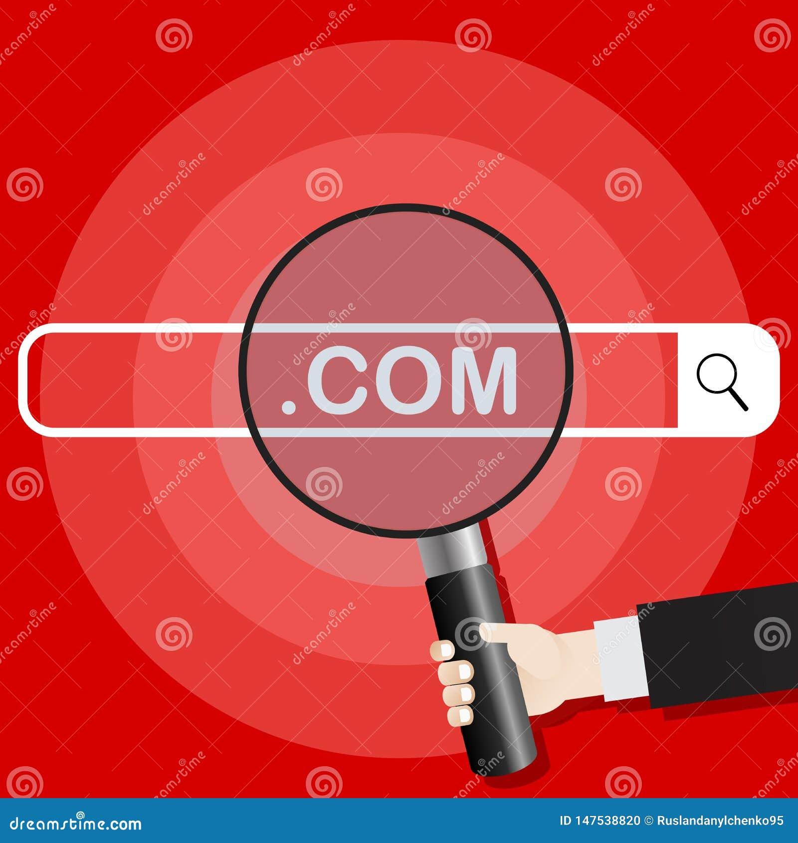 Ejemplo del vector del Search Engine La mano sostiene la lupa dirigida hacia el sistema de búsqueda de COM Ilustraci?n del vector