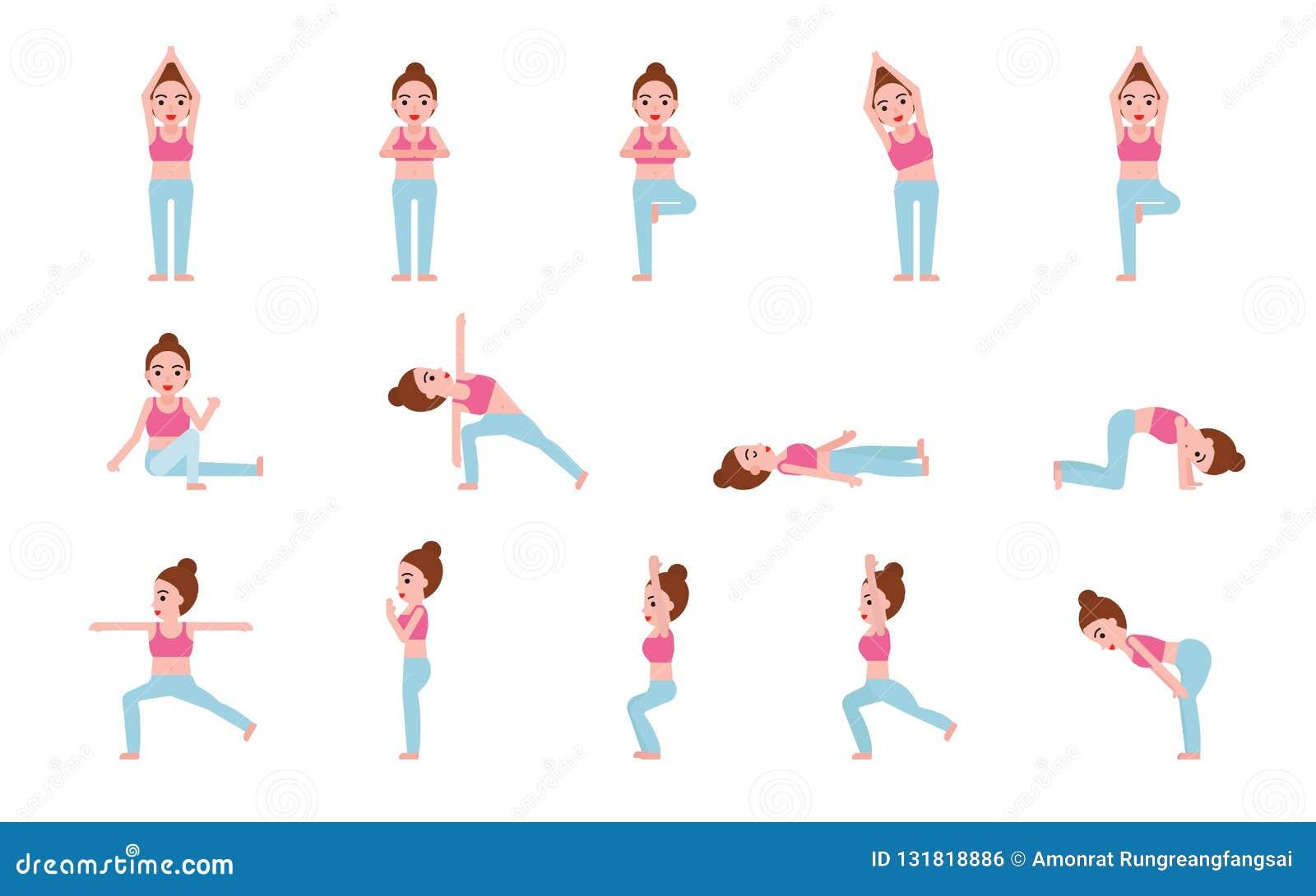 Ejemplo del vector del sistema de las posturas de la yoga, diseño plano