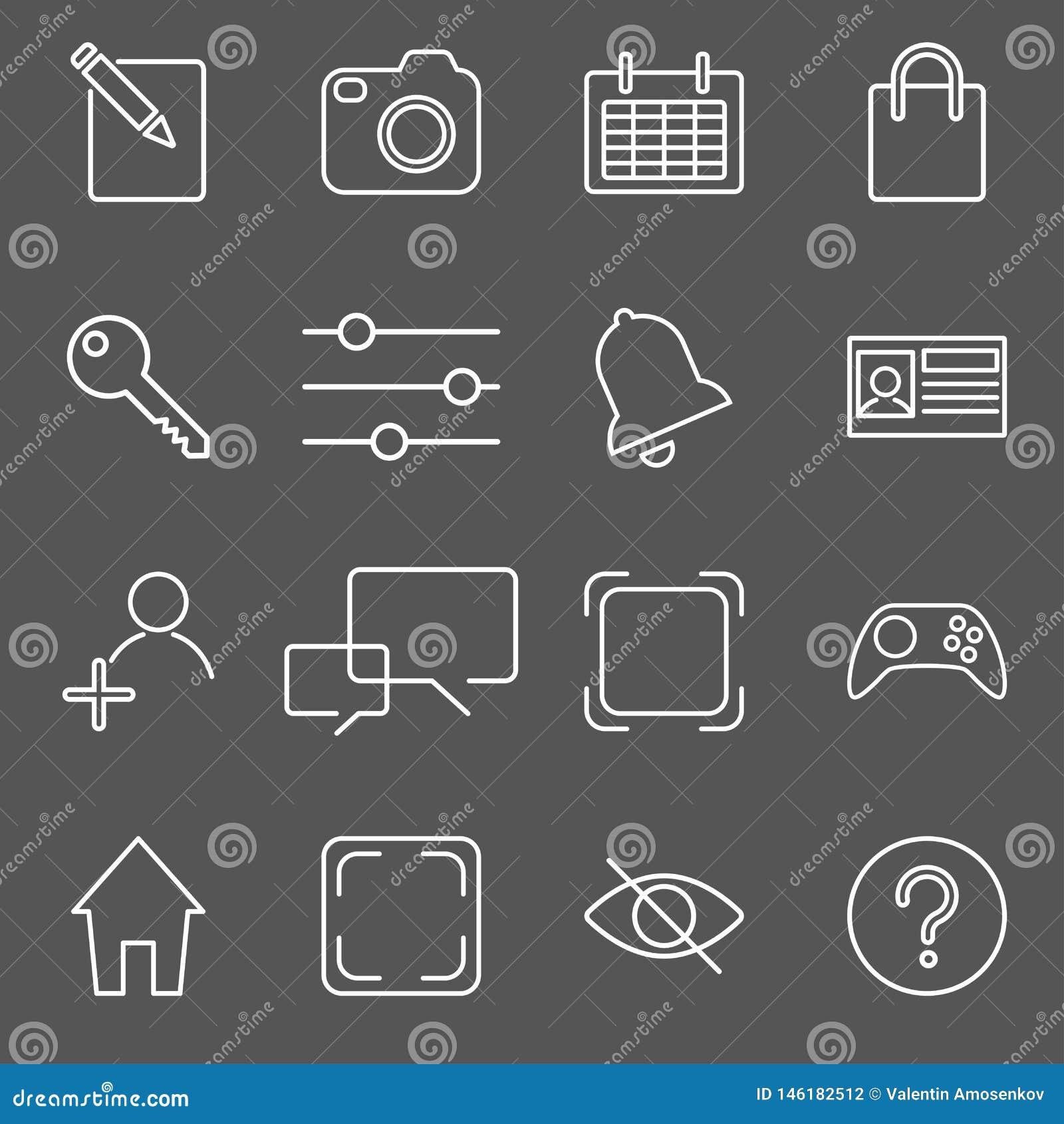 Ejemplo del vector del sistema del icono de los apps sobre la textura de lino