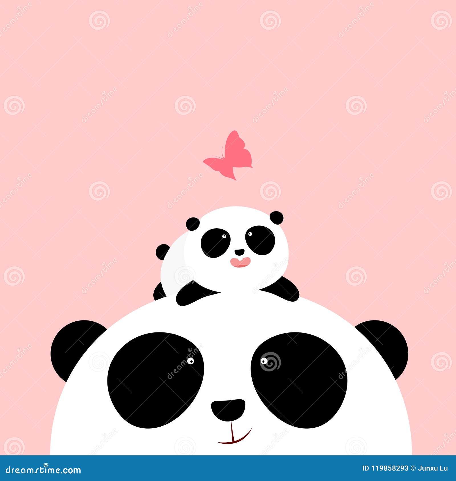 Ejemplo del vector: Un pequeño panda lindo de la historieta está mintiendo en la cabeza de su padre/madre, mirando una mariposa