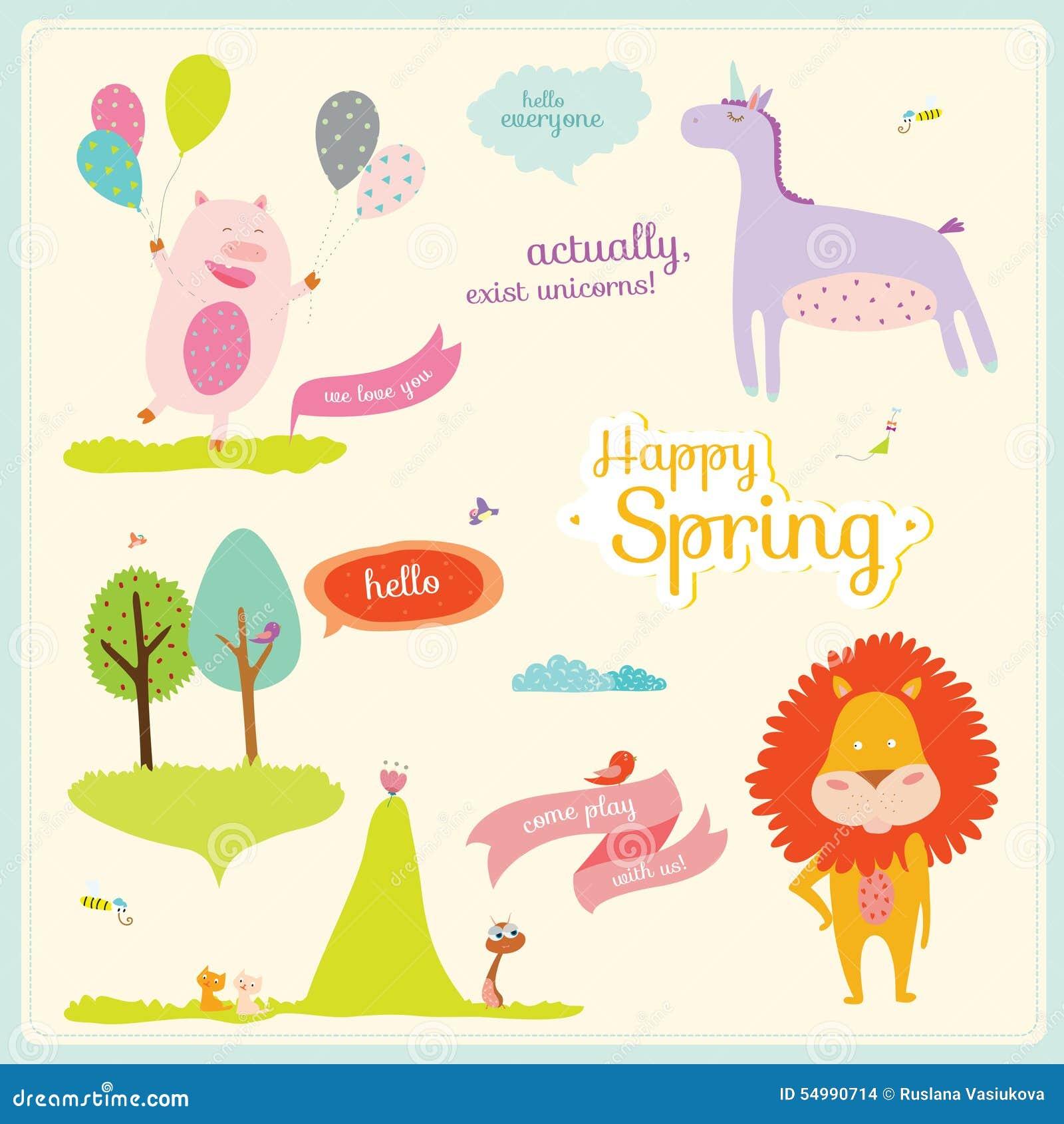 Ejemplo del verano o de la primavera con los animales divertidos