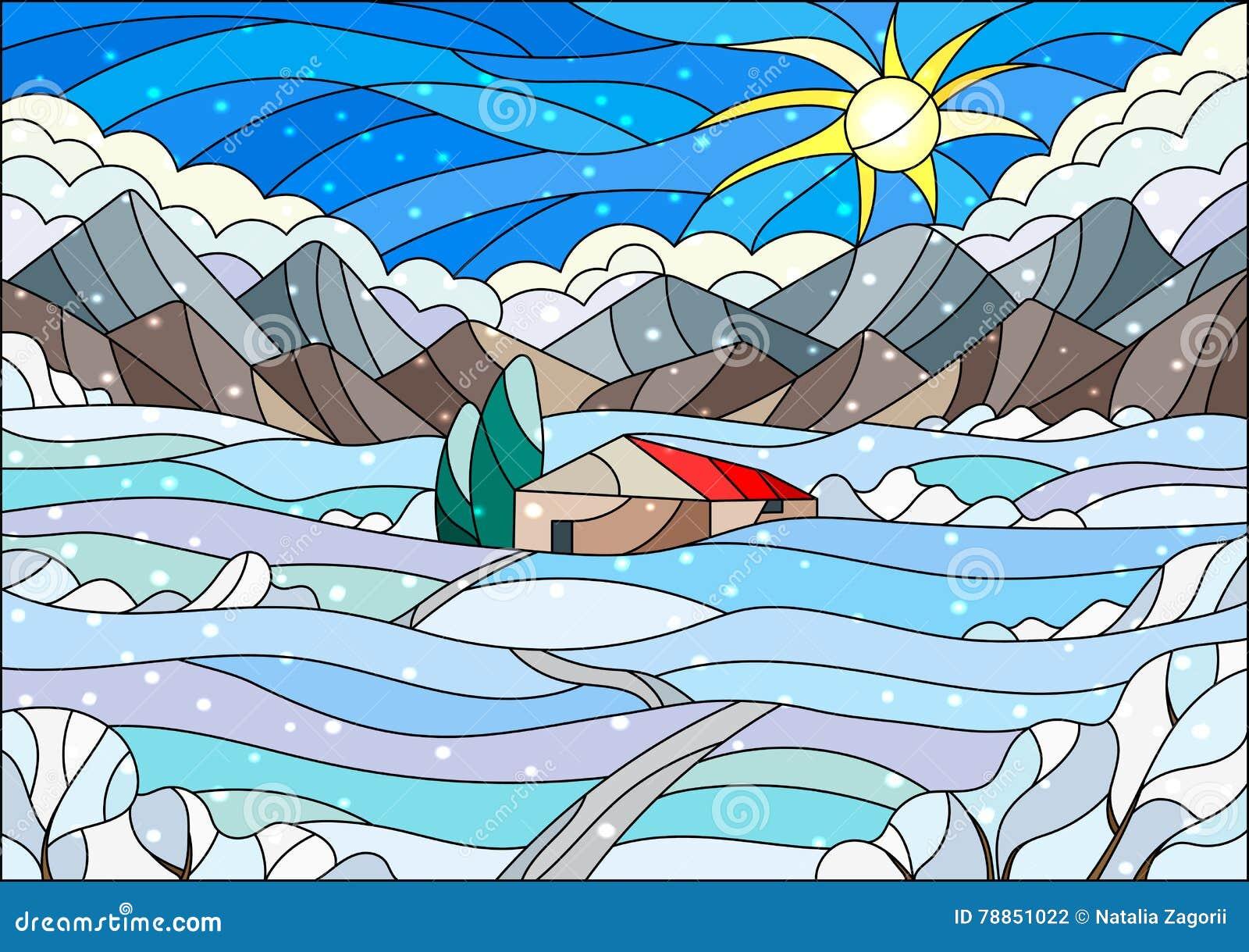 Ejemplo del vitral con paisaje abstracto del invierno, una casa sola en medio de campos, montañas, cielo y nieve que cae