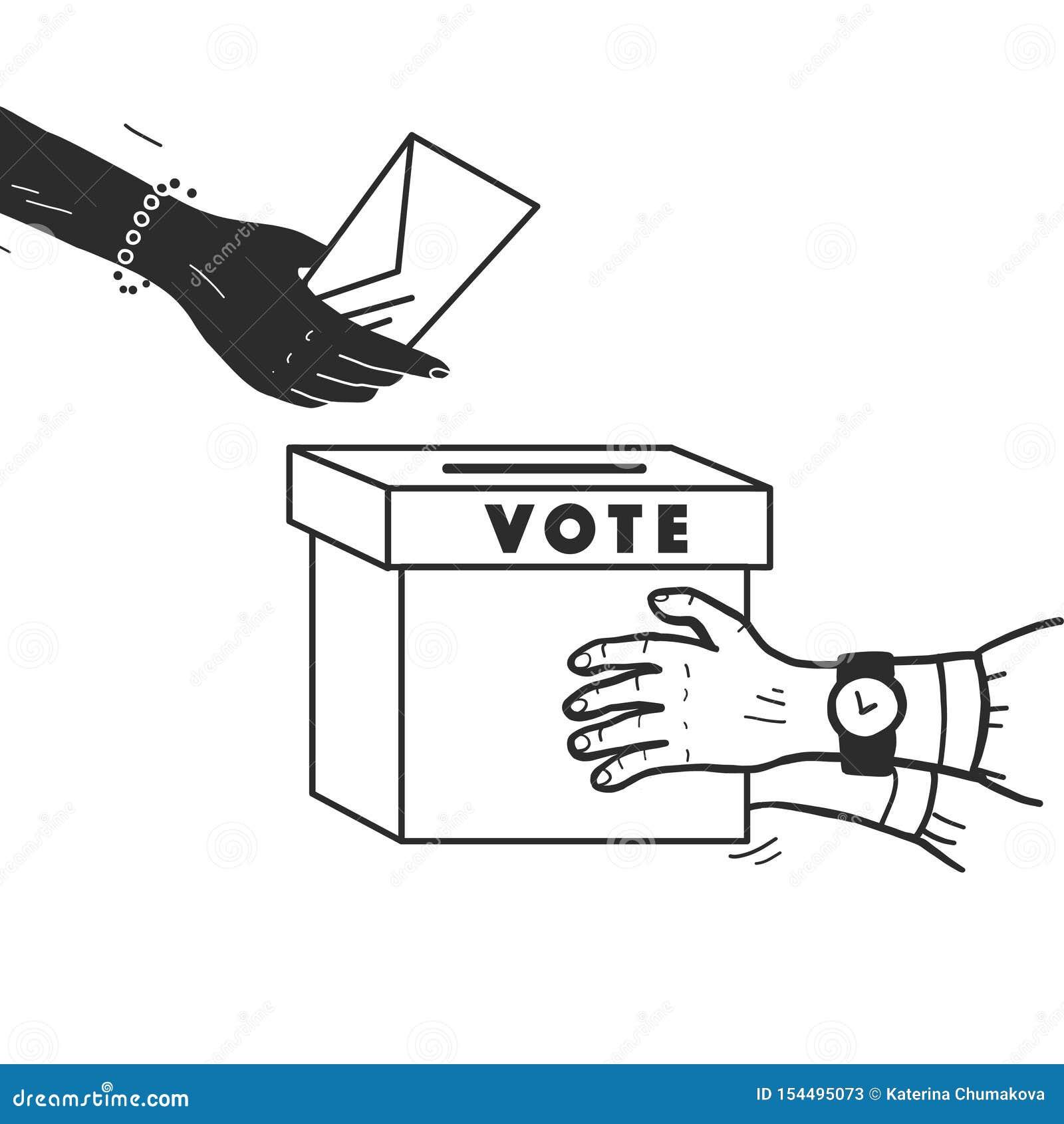 Ejemplo del voto del vector con las manos humanas, el boletín de votación y la caja de votación aislados en el fondo blanco