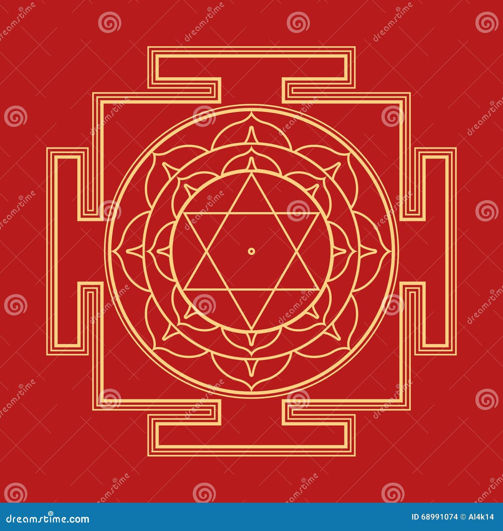 Ejemplo del yantra de Bhuvaneshwari del esquema de Monocrome