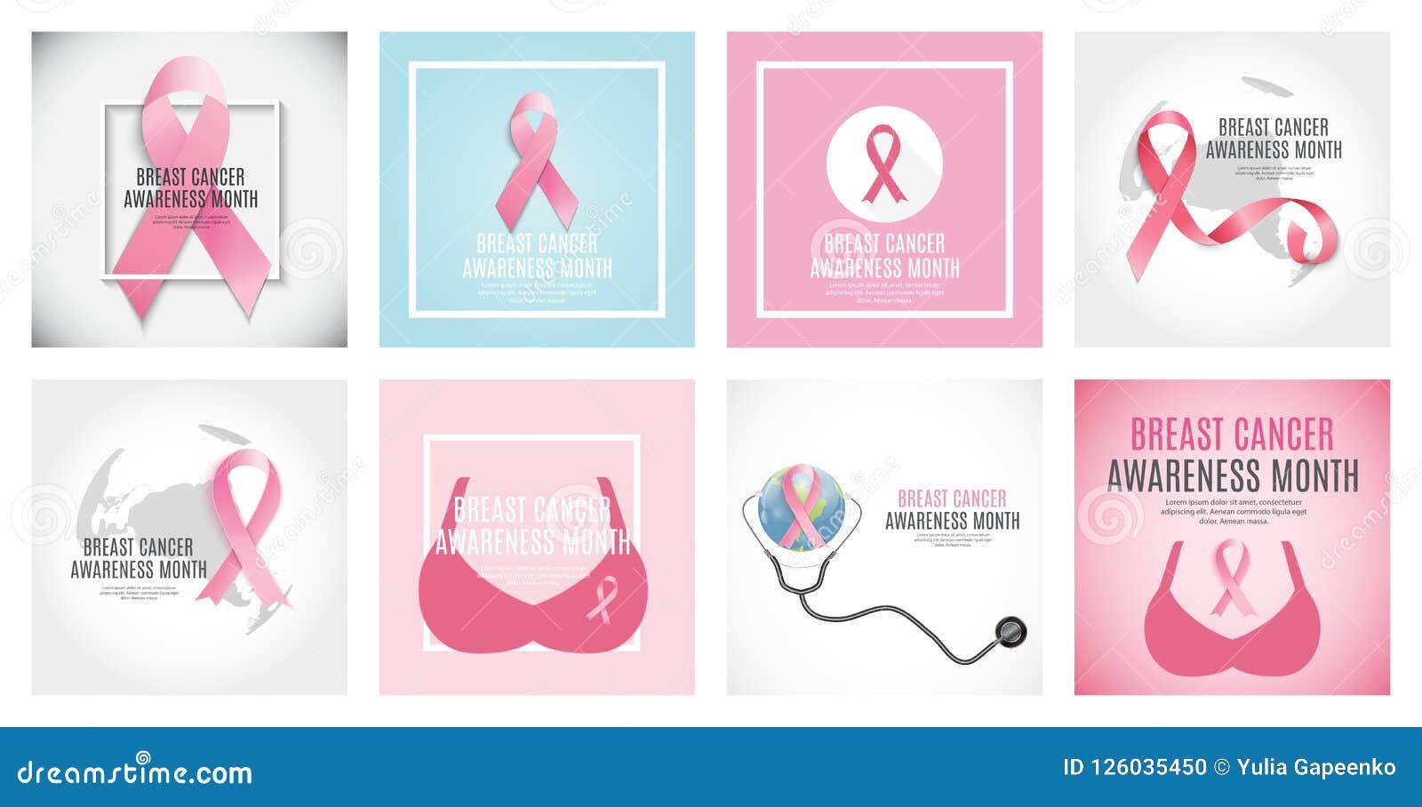 Ejemplo determinado del vector de la colección del fondo de la cinta del rosa del mes de la conciencia del cáncer de pecho