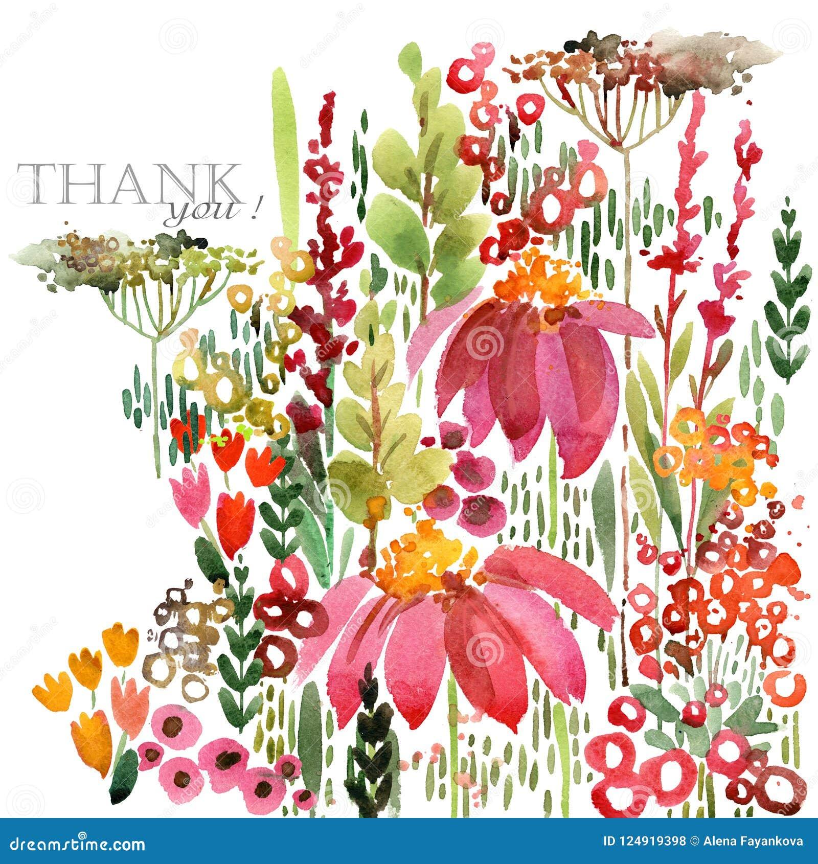Ejemplo dibujado mano de la acuarela de las flores de los campos Tarjeta de felicitación