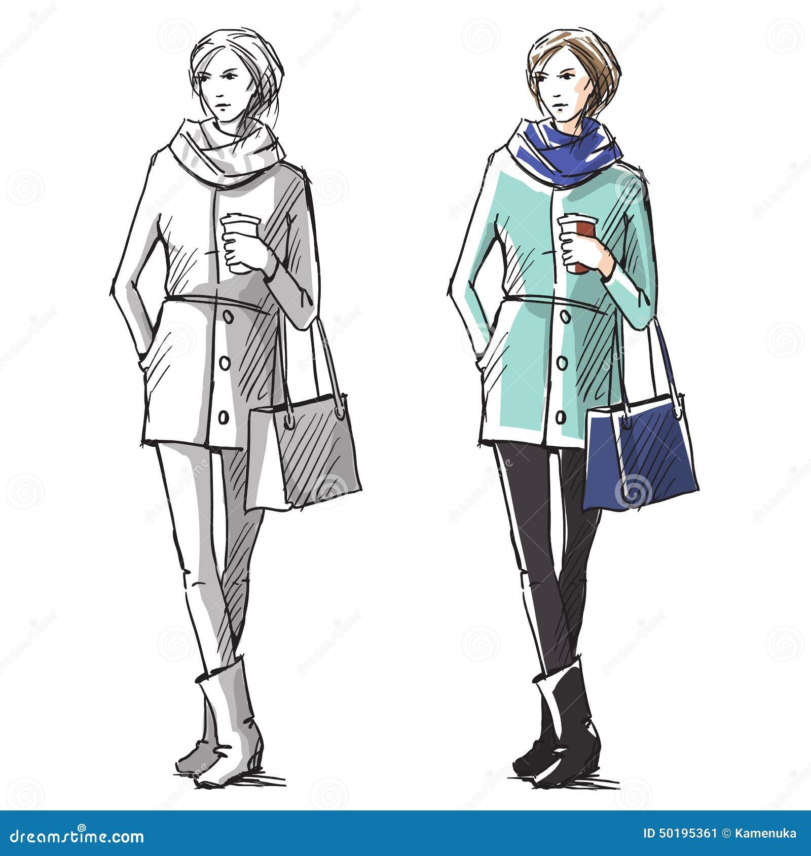 Ejemplo dibujado mano de la moda Moda de la calle