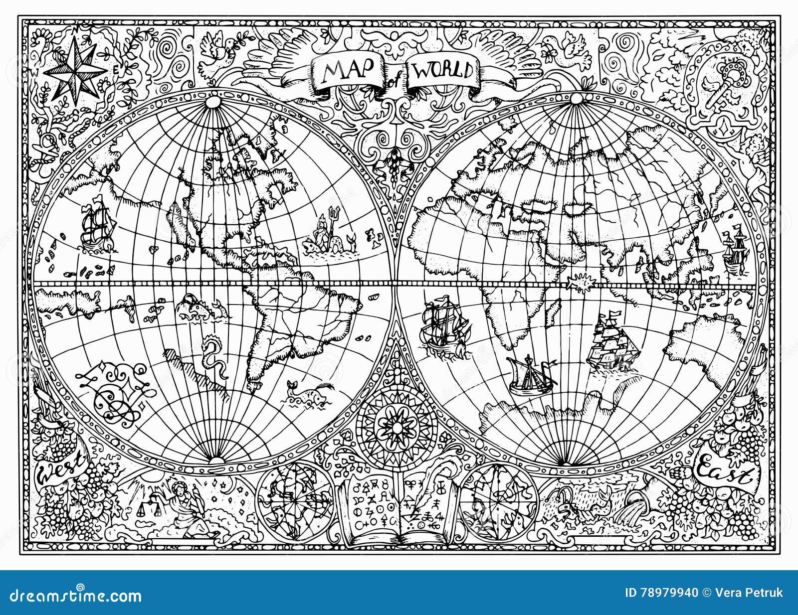 Ejemplo dibujado mano del mapa antiguo del atlas del mundo con símbolos místicos