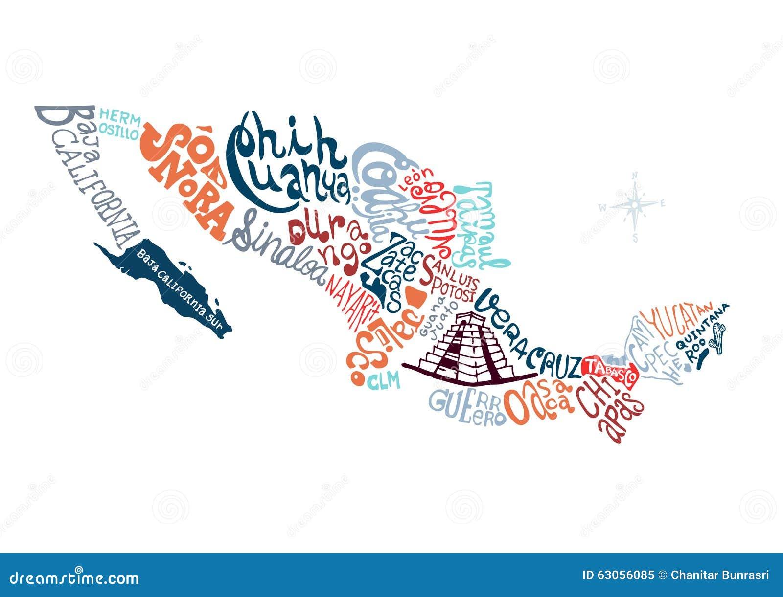 Ejemplo Dibujado Mano Del Mapa De México Ilustración Del Vector - Mapa de mexico