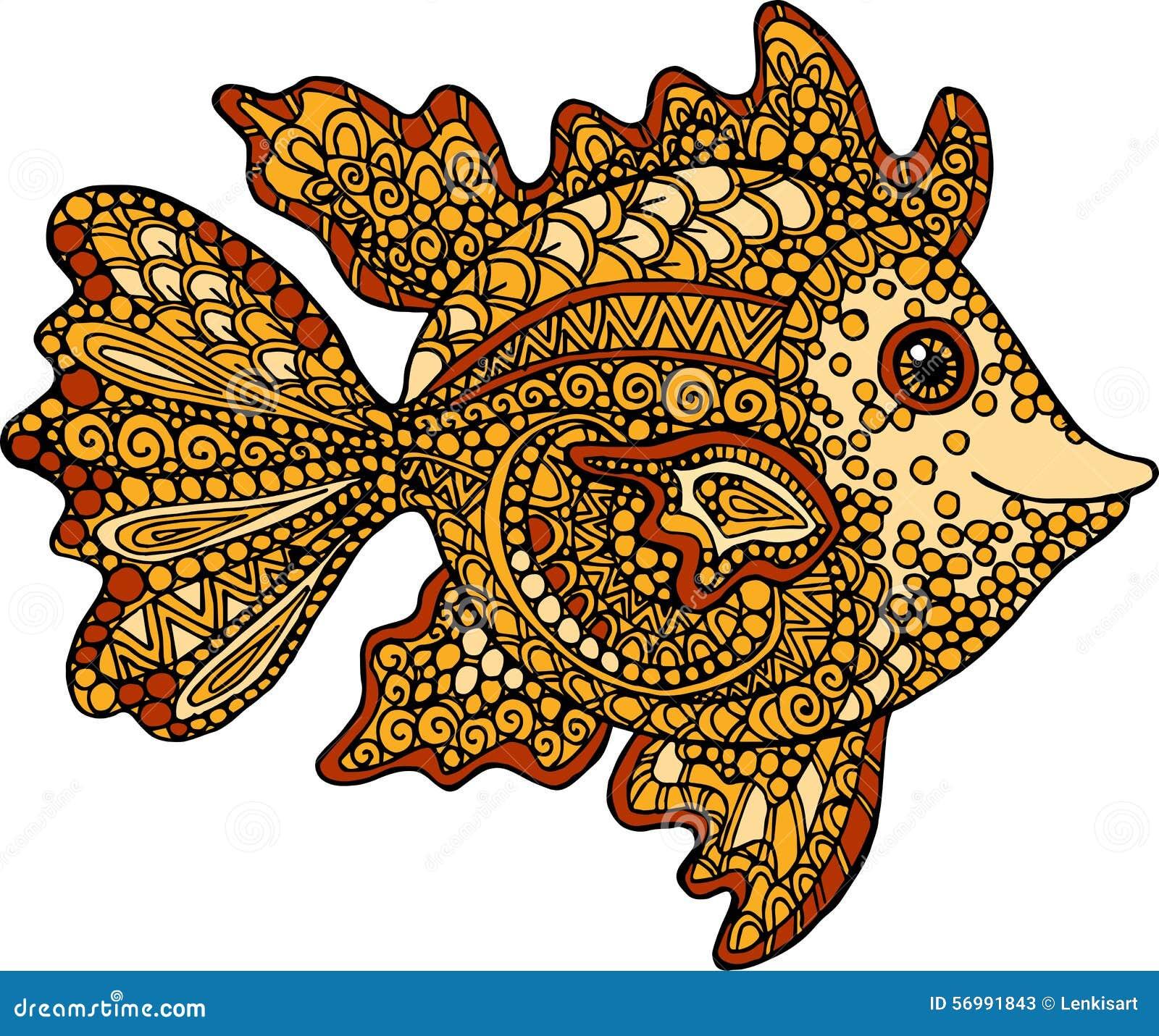 Ejemplo Dibujado Mano Del Pez De Colores Dibujo Ornamental ...