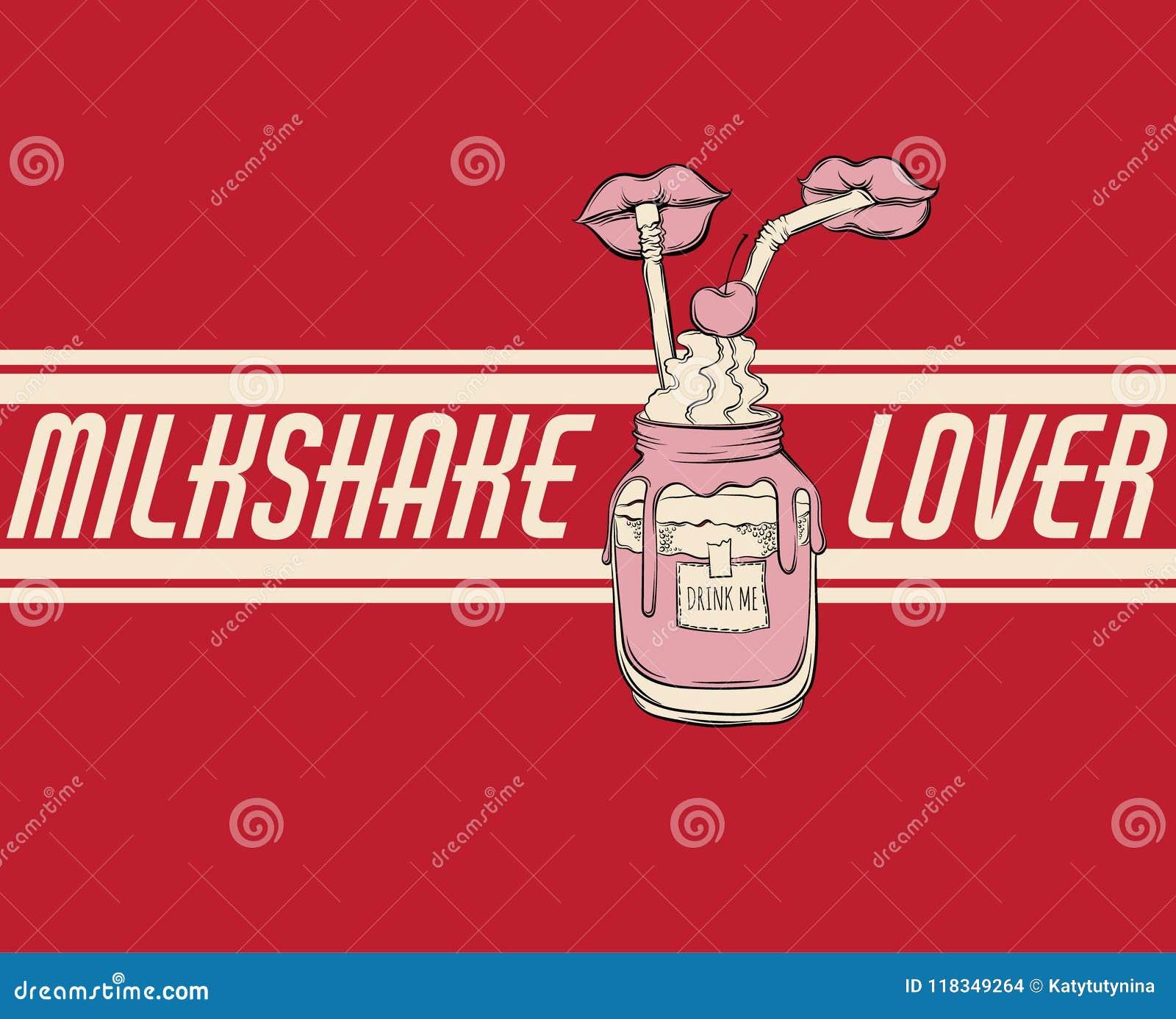 Ejemplo dibujado mano del vector del batido de leche