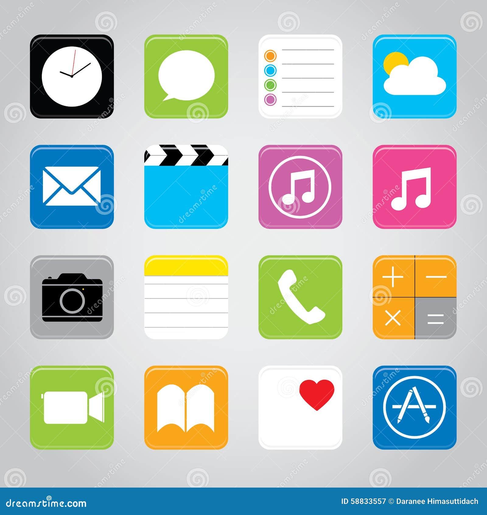 Ejemplo elegante del vector del icono del botón de la aplicación móvil del teléfono de la pantalla táctil