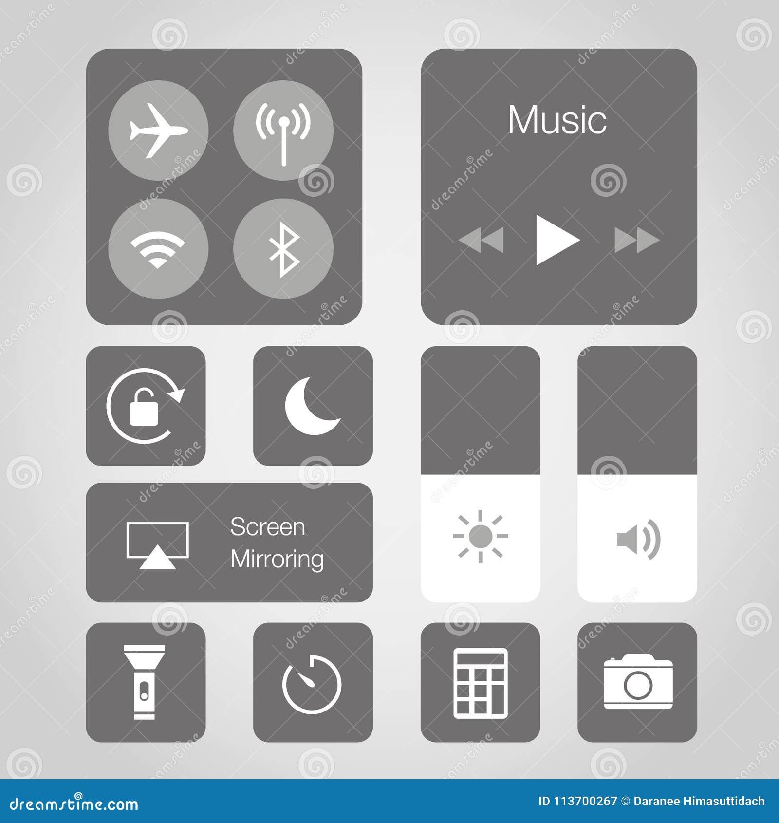 Ejemplo elegante del vector del símbolo del icono del botón de la aplicación móvil del teléfono de la pantalla táctil del App