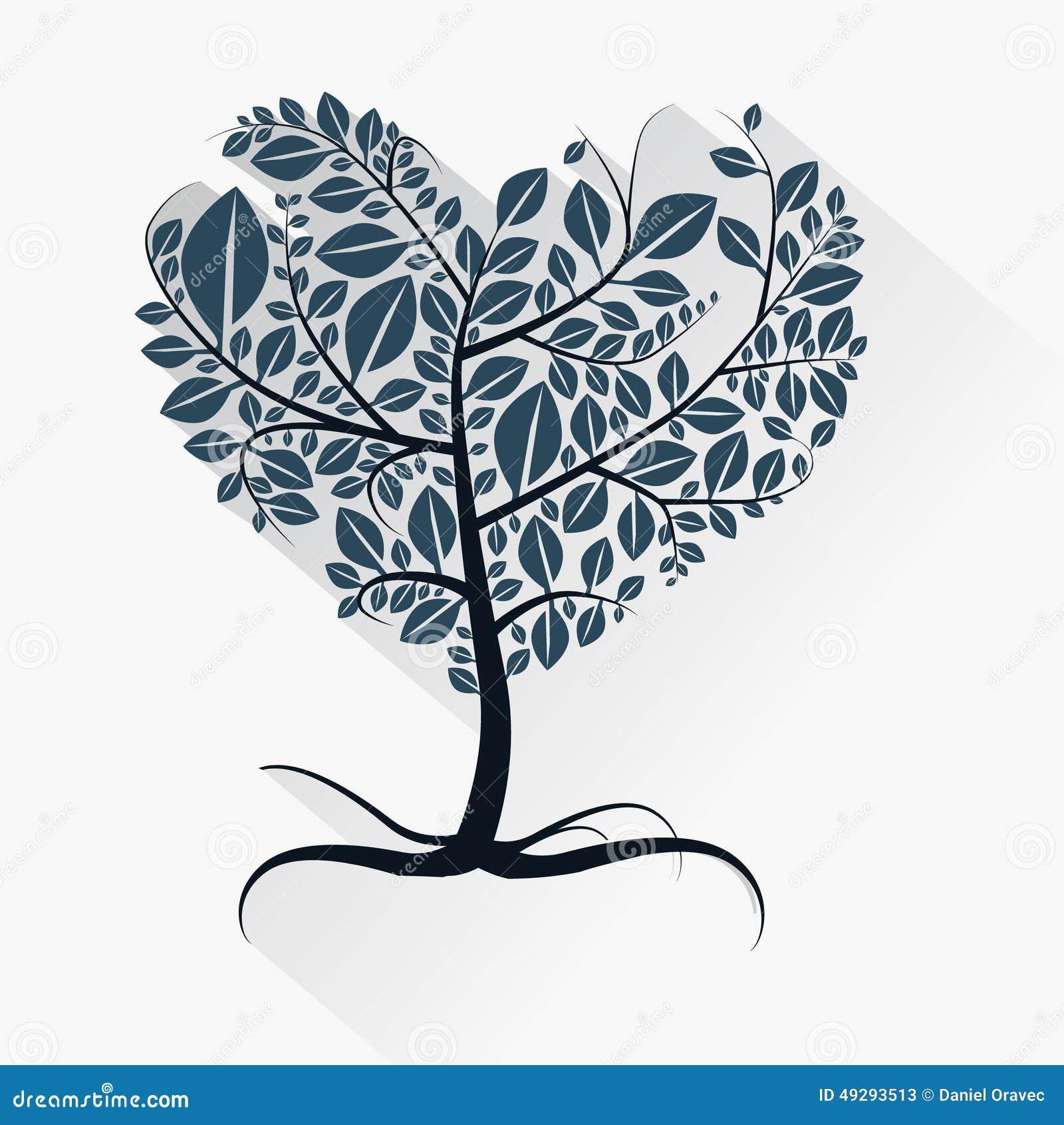 Ejemplo En Forma De Corazón Del árbol Del Vector Abstracto