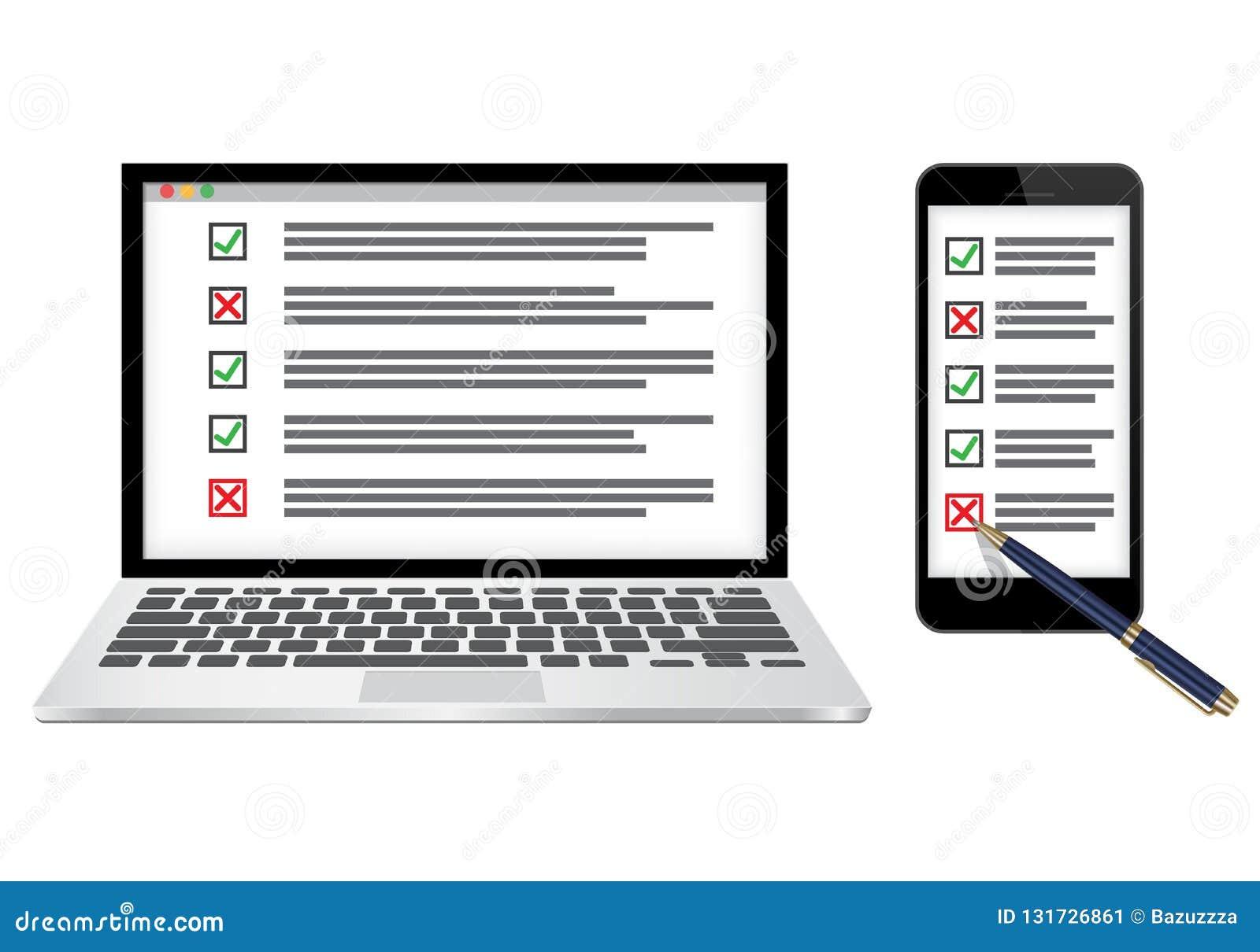 Ejemplo en línea del vector del concepto de la encuesta o de la lista de control
