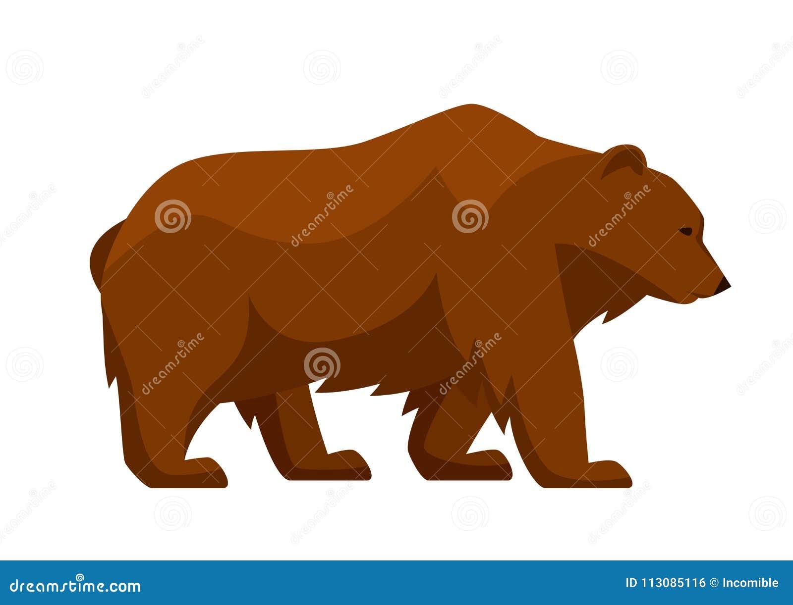 Ejemplo estilizado del oso Animal del bosque del arbolado en el fondo blanco