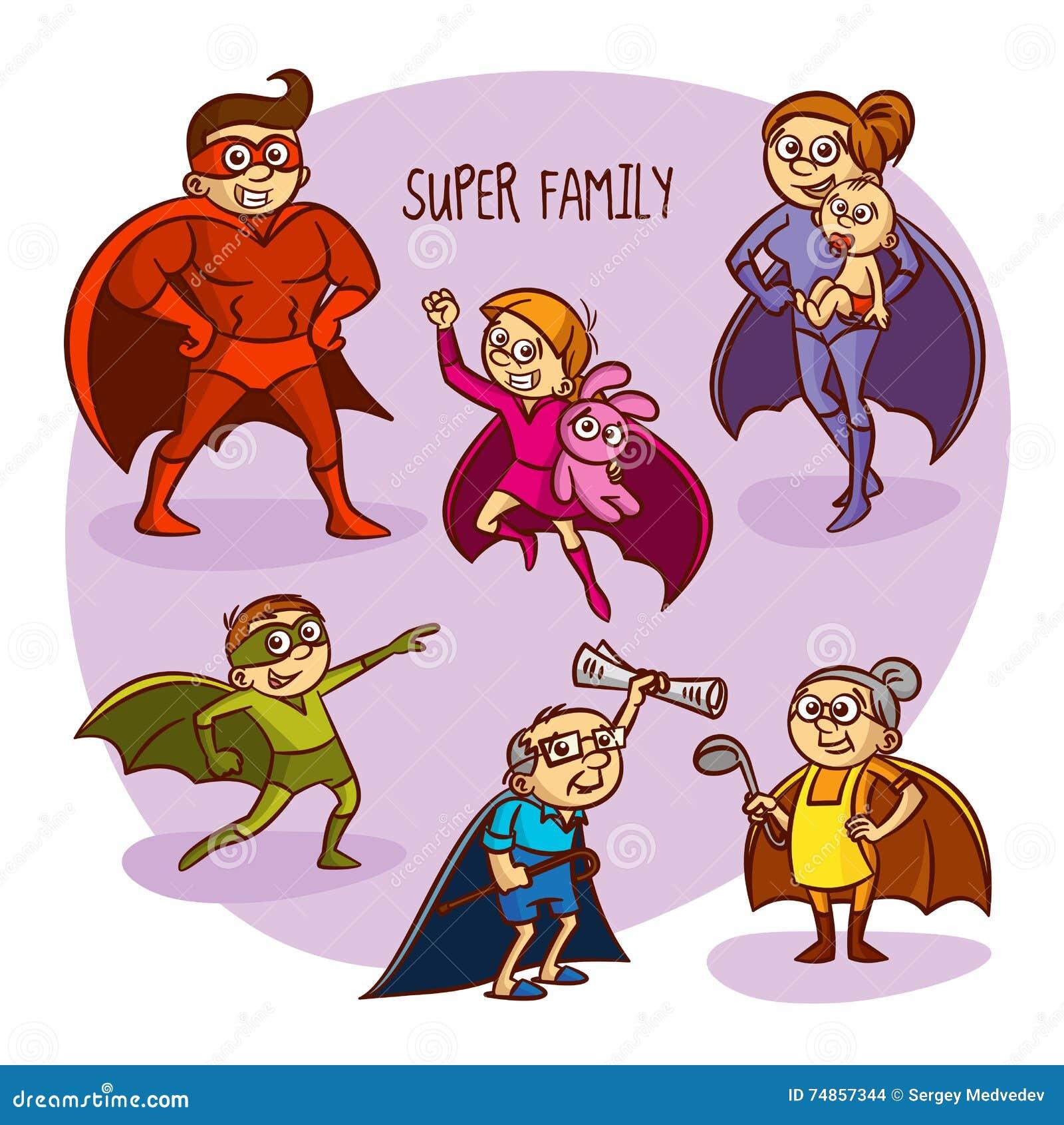 Ejemplo estupendo del vector de los niños de los super héroes de la familia