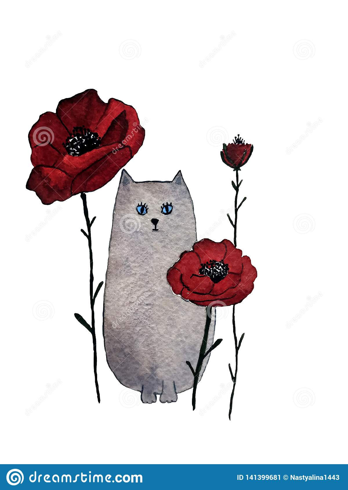 Ejemplo exhausto de la acuarela de la mano del gato gris con las flores rojas