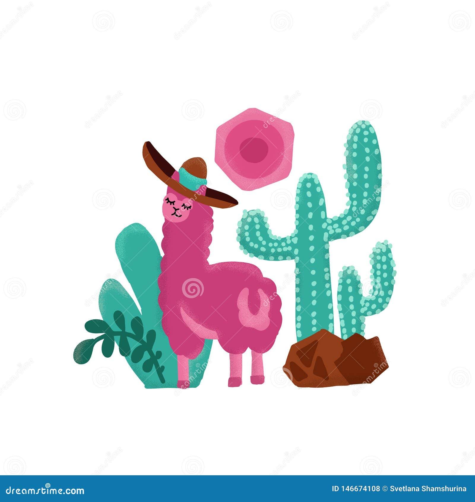 Ejemplo exhausto de la mano infantil de la alpaca del rosa Llama y tarjetas y diseño de la alpaca para el diseño del cuarto de ni