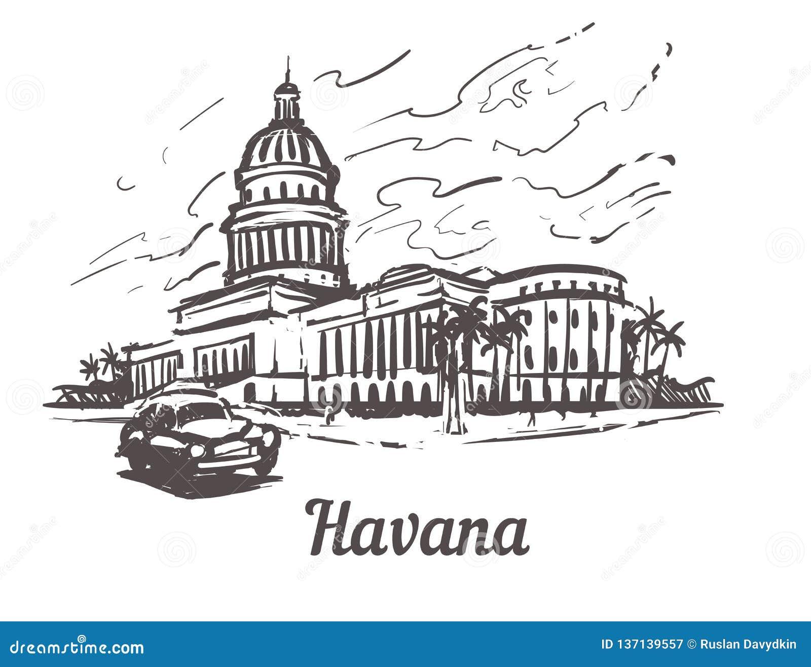 Ejemplo exhausto del vector del bosquejo de la mano de La Habana Capitolio de La Habana, aislado en el fondo blanco