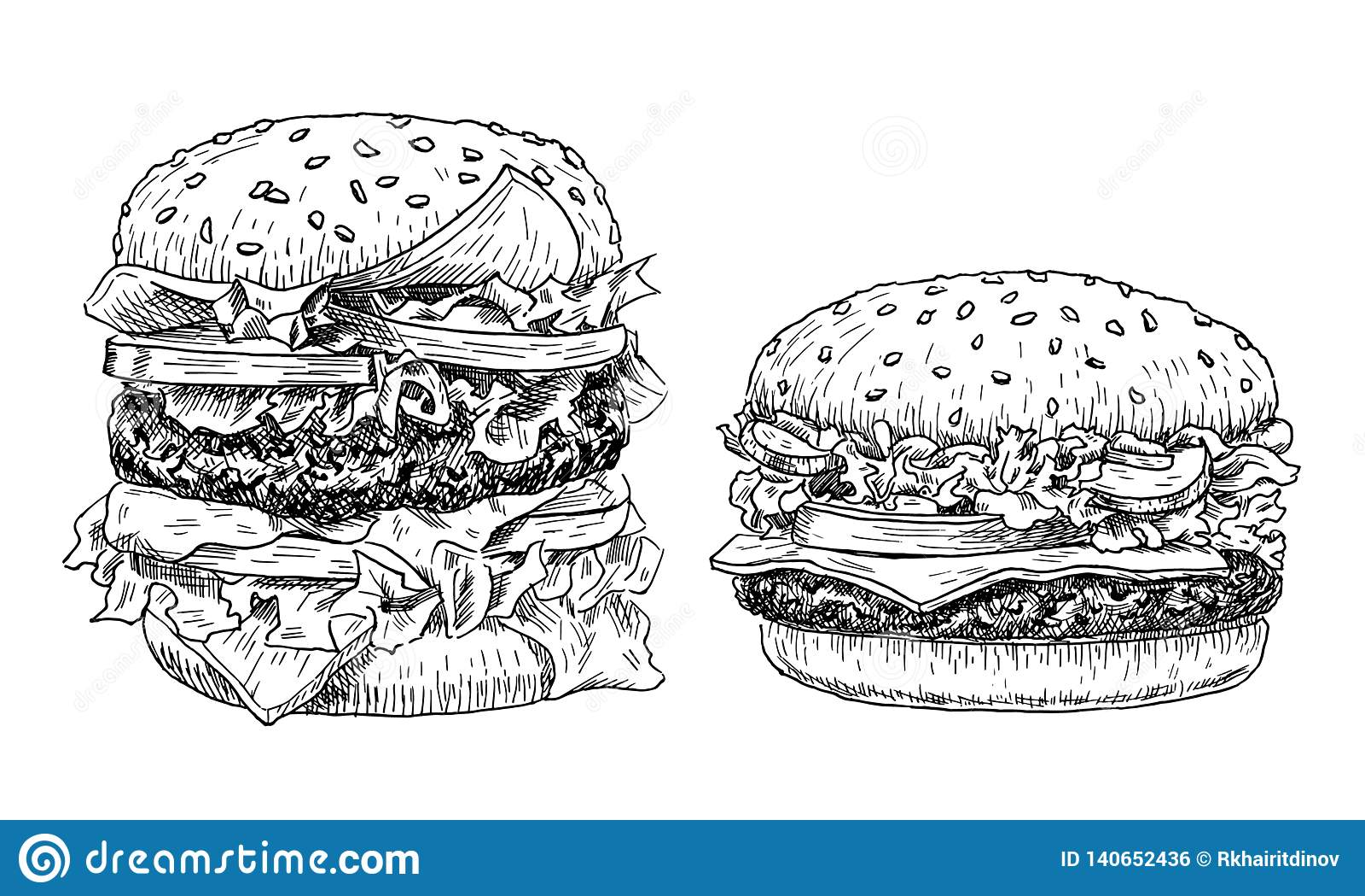 Ejemplo exhausto del vector de la mano de la hamburguesa y del cheeseburger Estilo grabado de los alimentos de preparación rápida