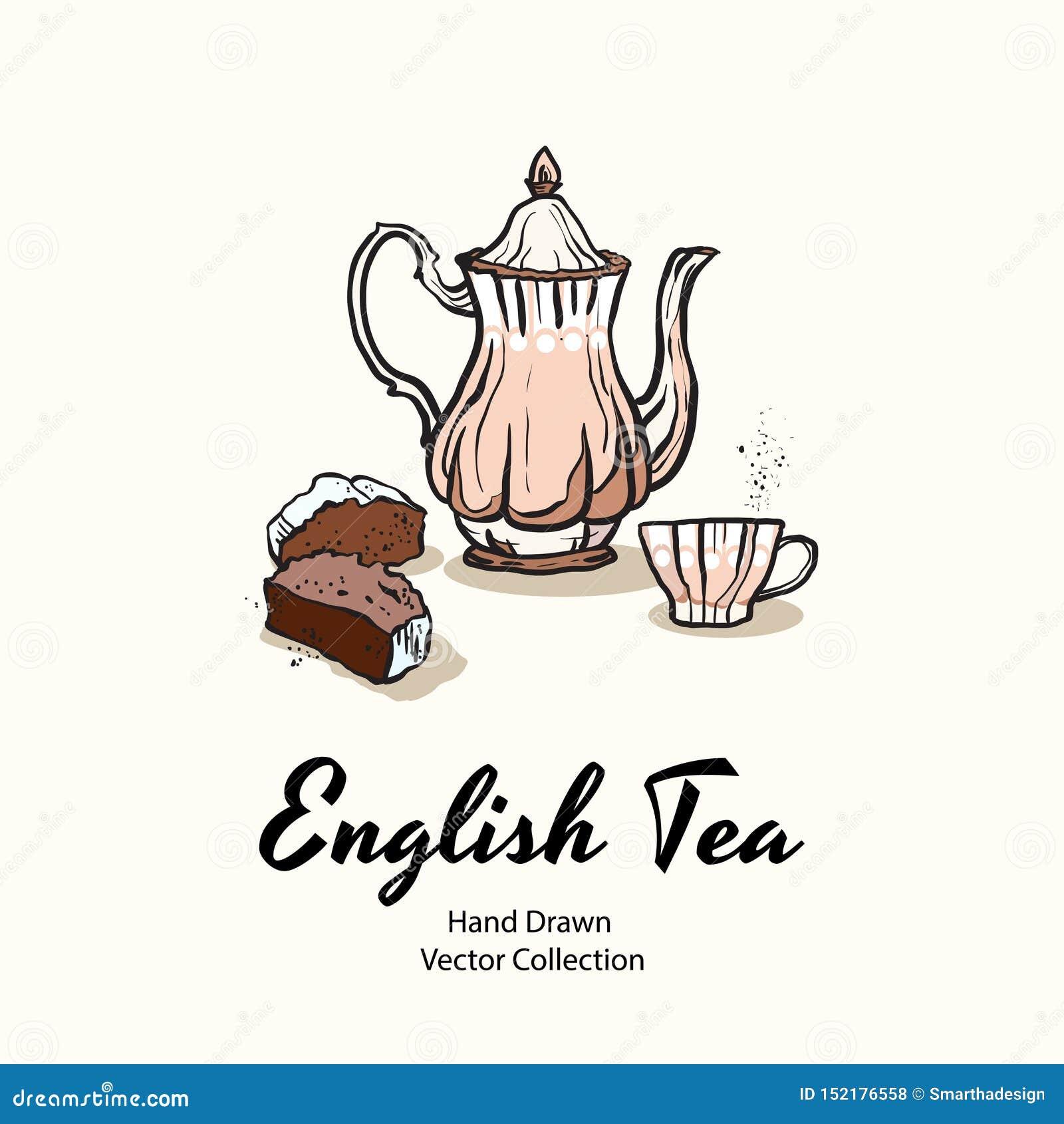 Ejemplo exhausto rosado del vector de la mano de la tetera, de la taza y de la magdalena en el viejo estilo para el menú del café