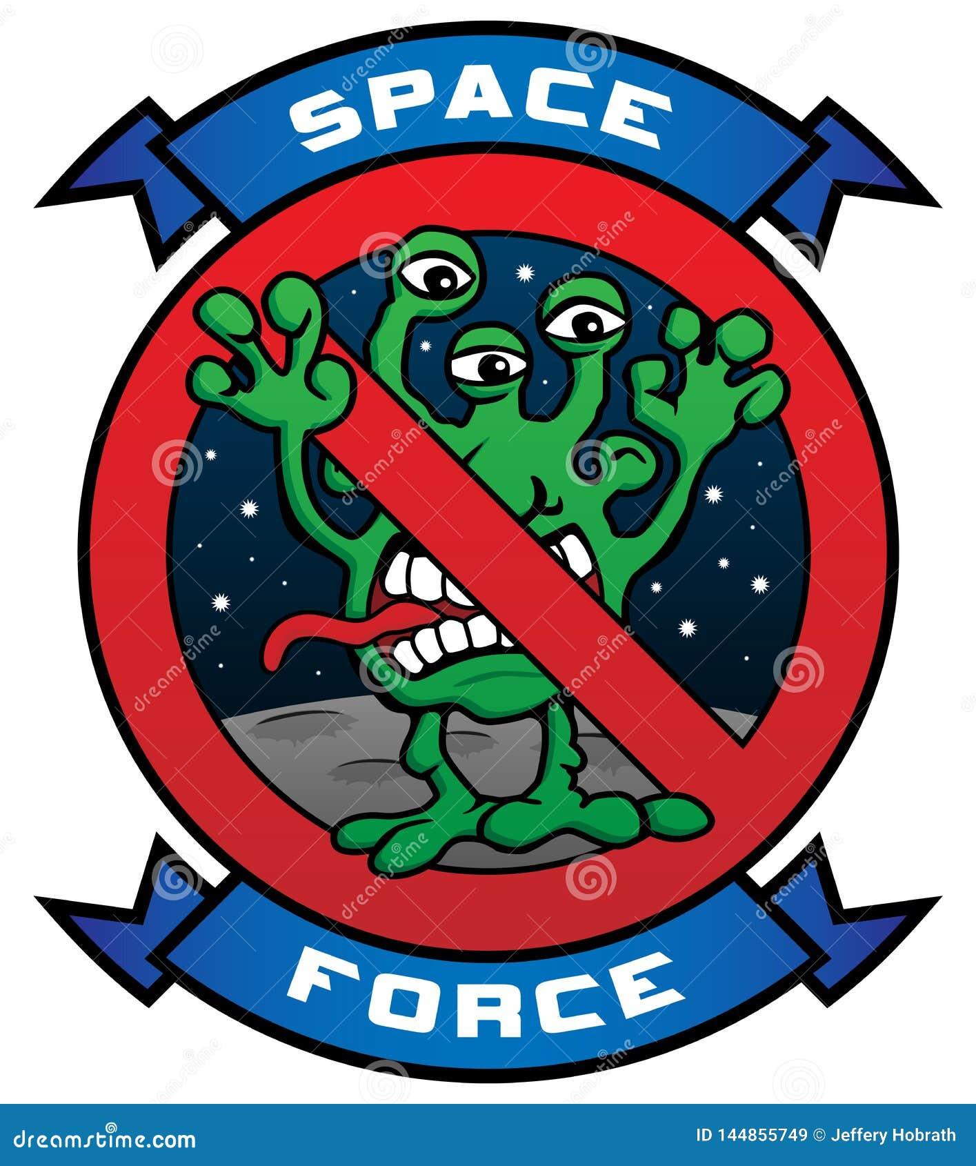 Ejemplo extranjero del vector de la historieta de la fuerza divertida del espacio