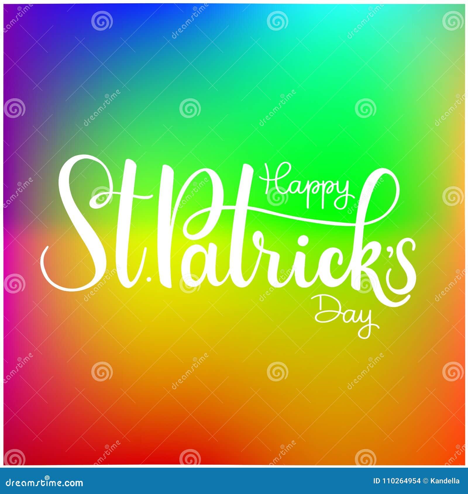 Ejemplo feliz del vector del día del ` s de St Patrick Diseño irlandés de la celebración Insignia dibujada mano con el trébol y e